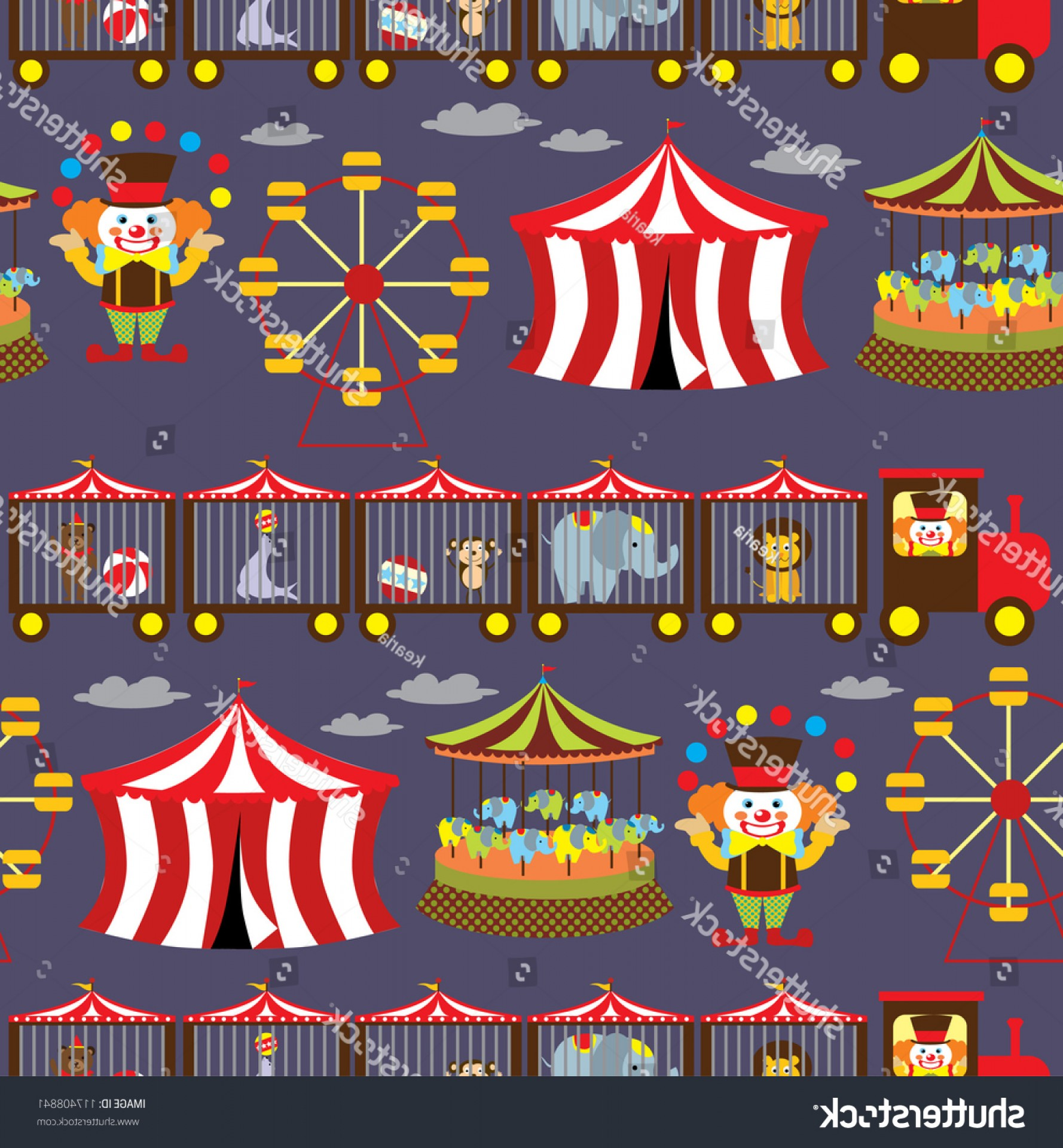 Circus Background Vector: Seamless Circus Background Vector Illustration