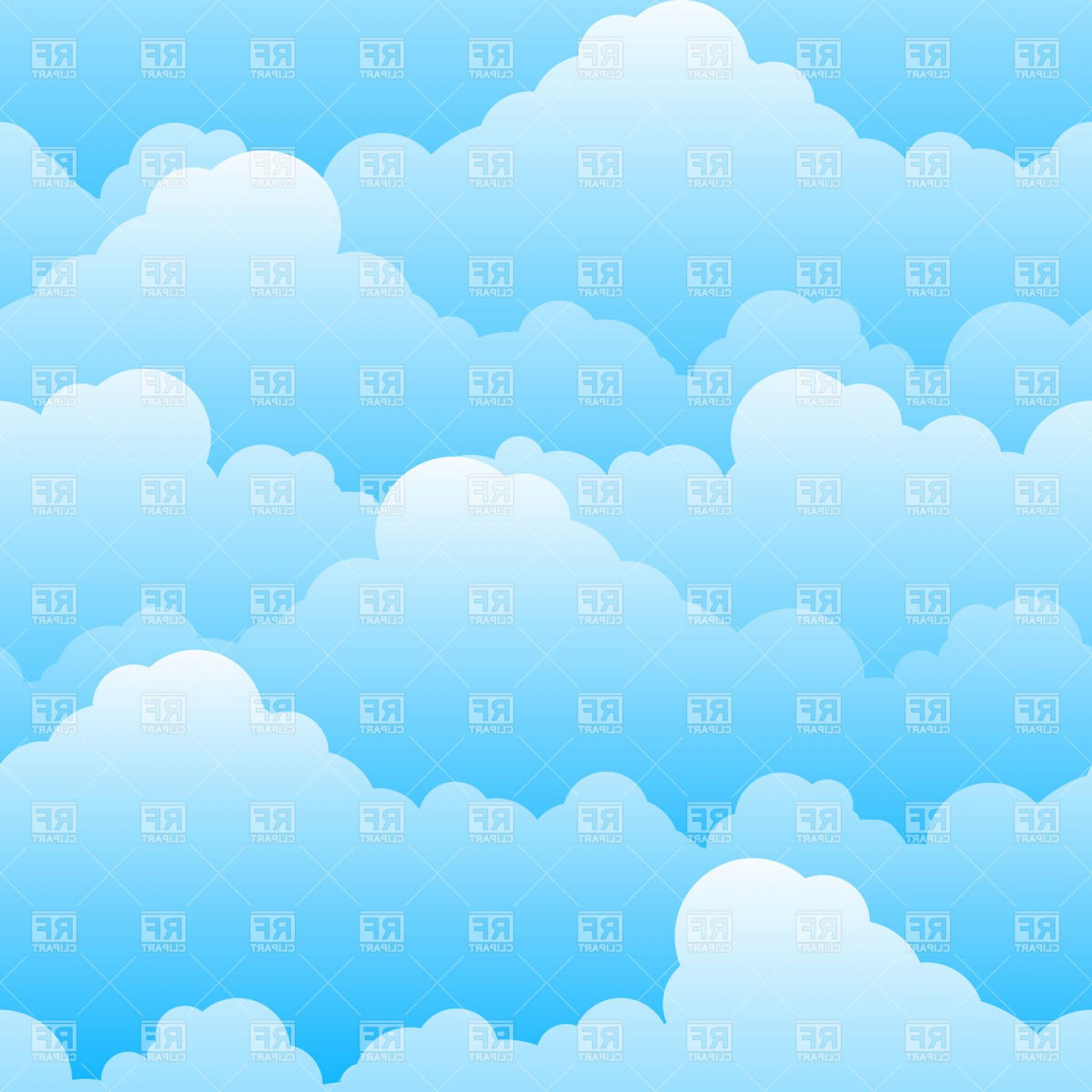 Clouds Backgrounds Vector: Seamless Cloudy Sky Background Vector Clipart