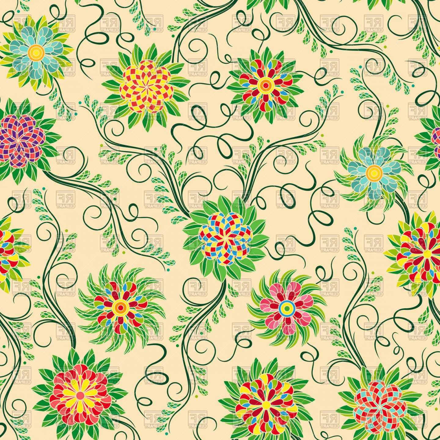 Beautiful Flowers Vector Graphic: Seamless Colourful Pattern With Beautiful Flowers On Beige Background Vector Clipart