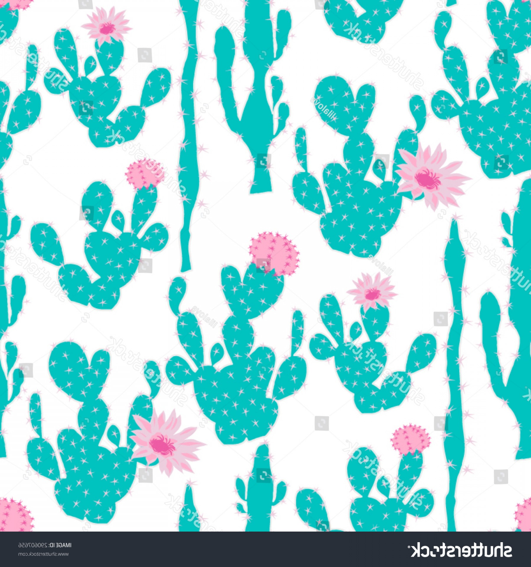 Cactus And Flower Vector: Seamless Cute Cactus Flower Vector Pattern
