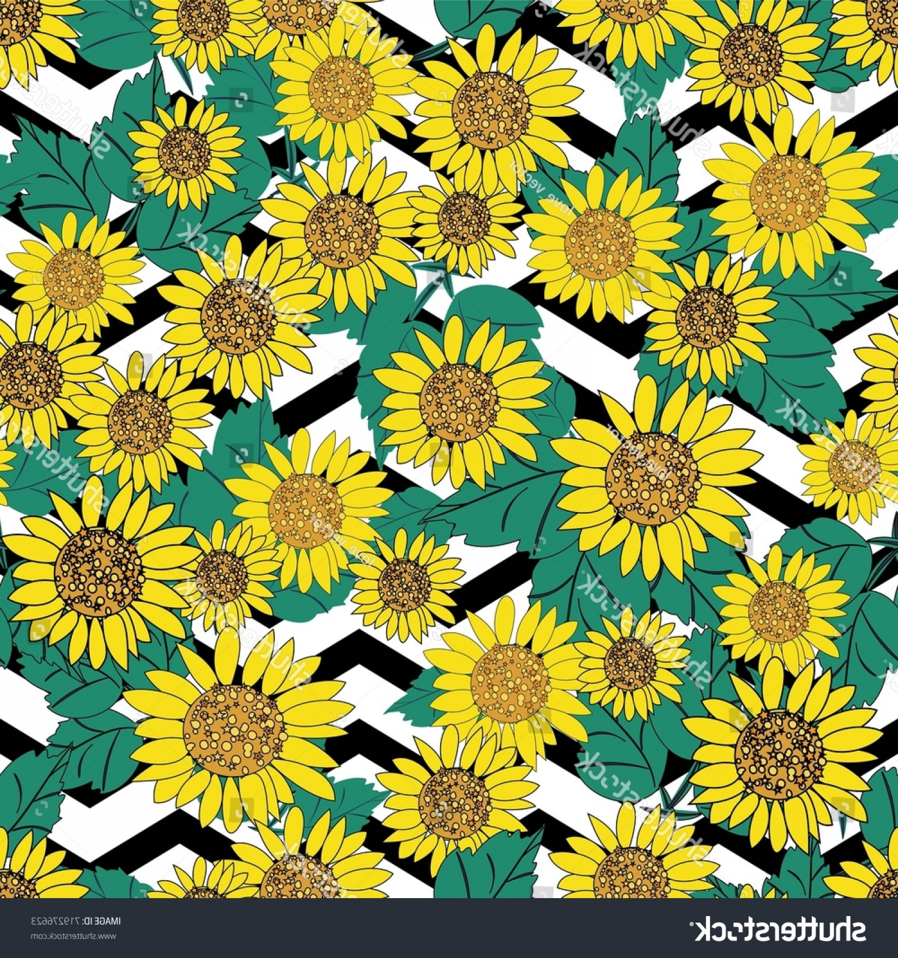 Sunflower Vector Pattern: Seamless Cute Sunflower Vector Pattern