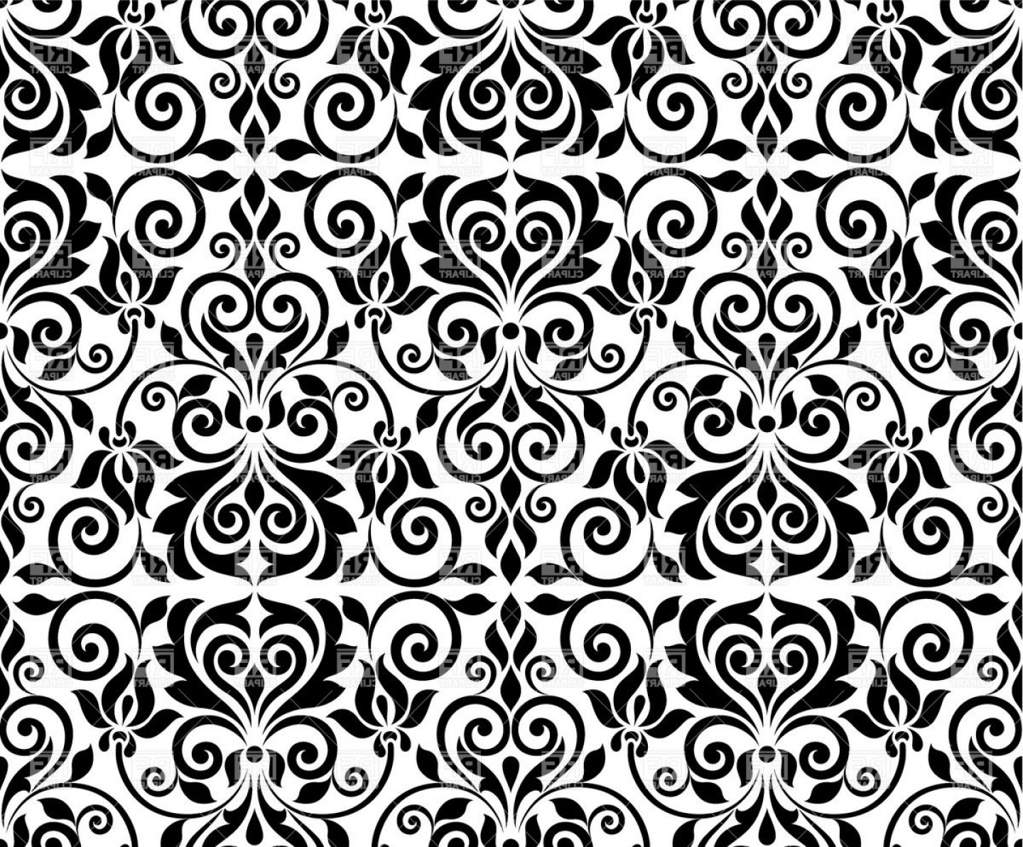 Free EPS Vector Art: Seamless Damask Background Ornamental Classic Pattern Vector Clipart