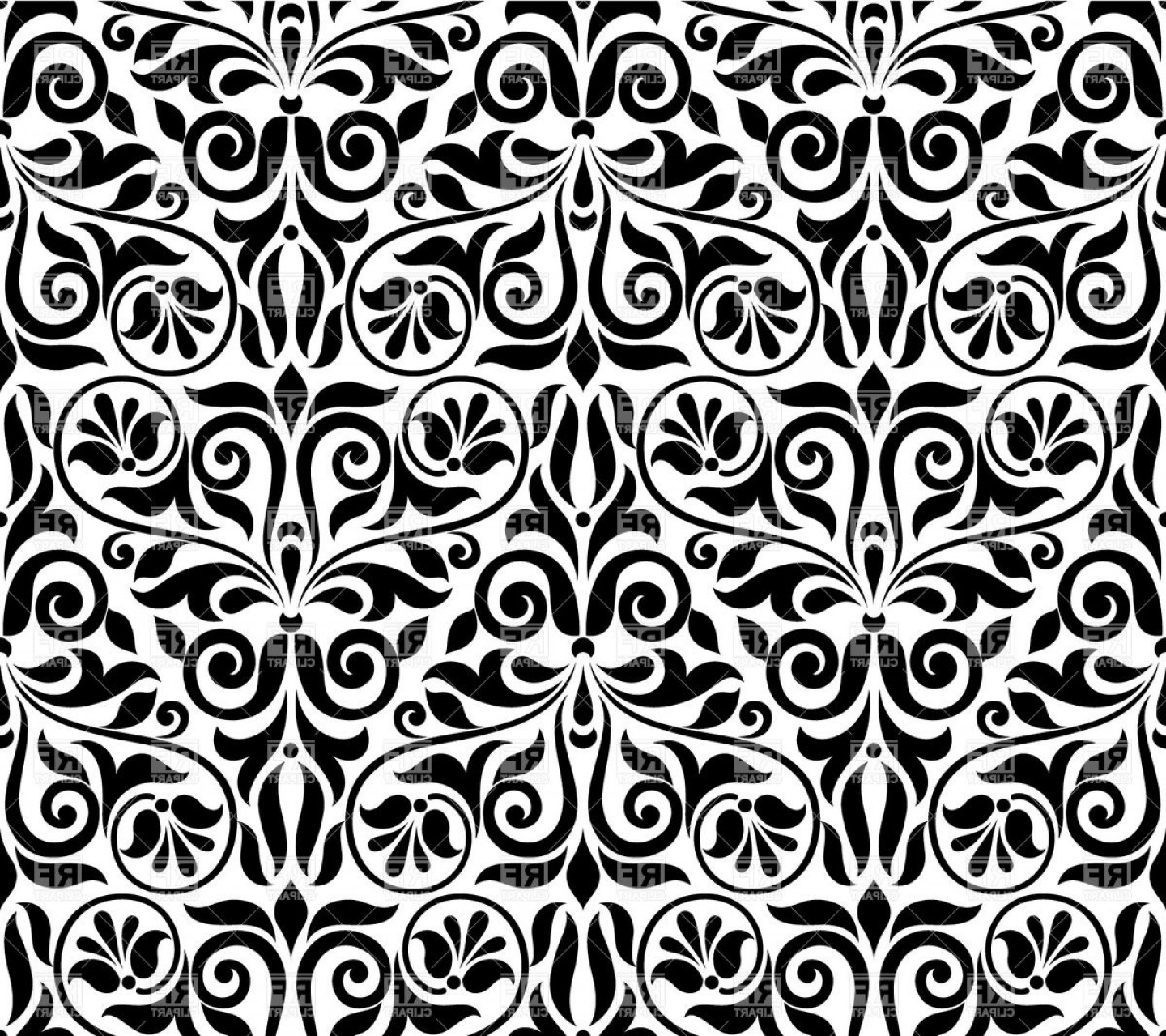 Damask Background Vector Art: Seamless Damask Pattern Ornamental Classic Wallpaper Vector Clipart