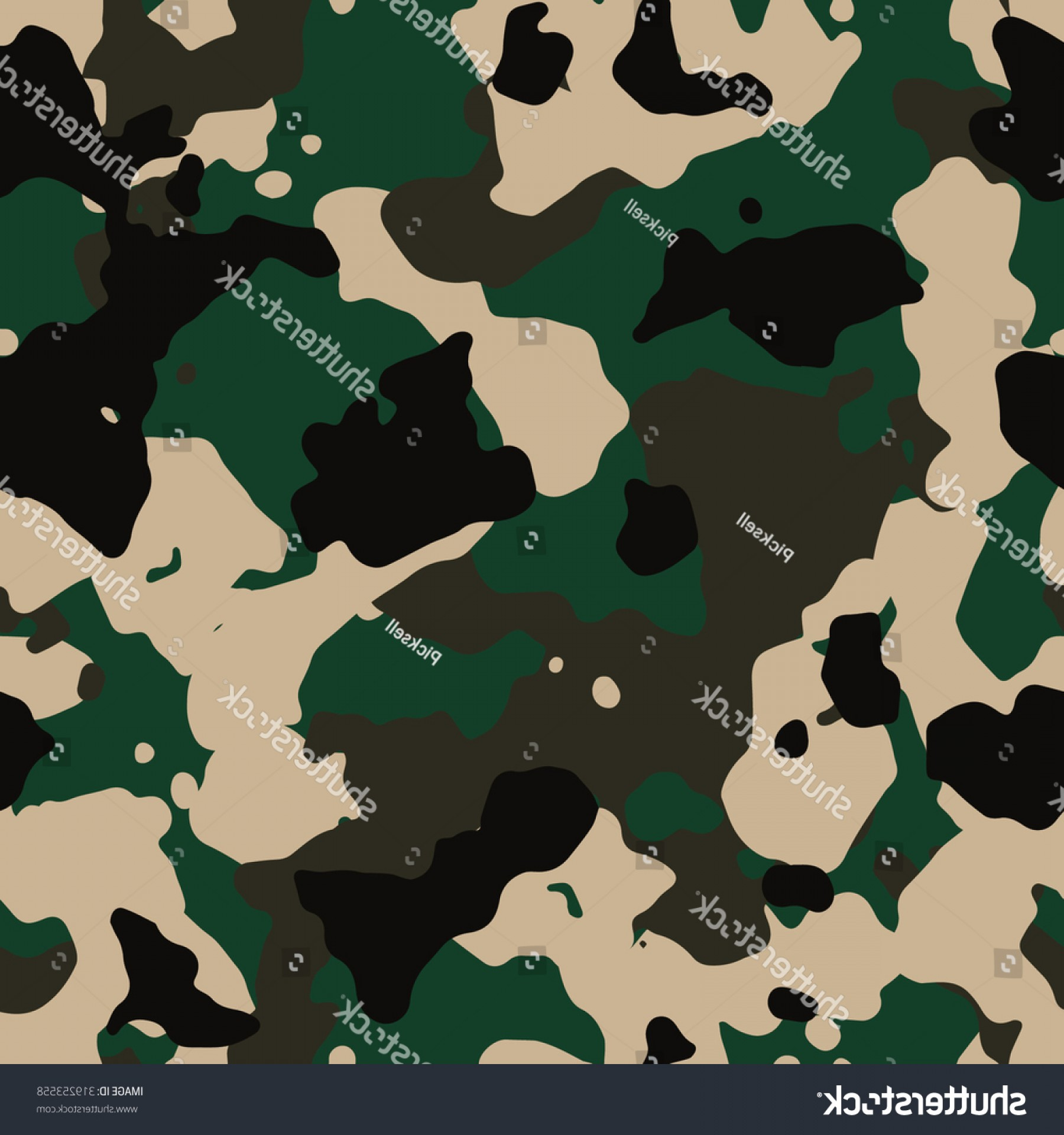Army Camouflage Pattern Vector: Seamless Dark Woodland Classic Army Camouflage