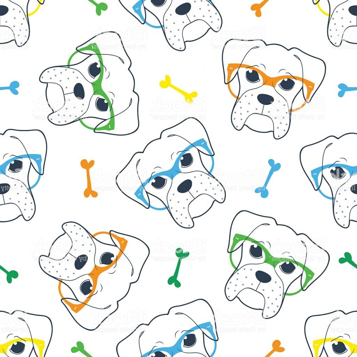 Bpxer Vector Art Happy Dog: Seamless Doodle Hipster Pattern With A Boxer In Glasses Gm