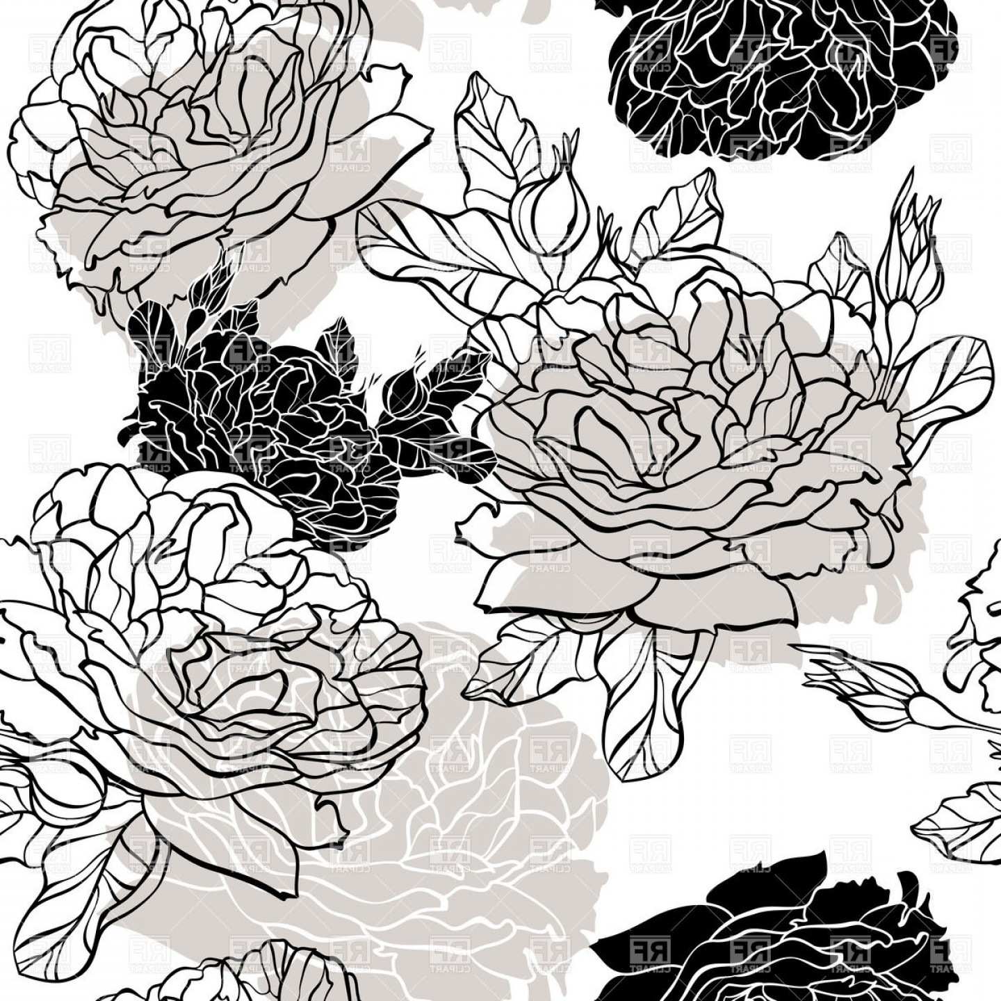 Floral Vector Illustration: Seamless Floral Background With Roses Outlines Vector Clipart