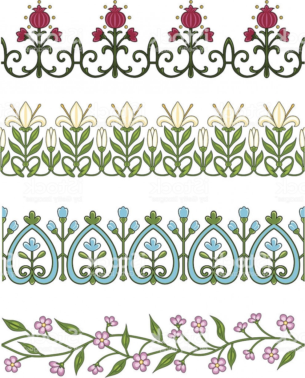 Floral Lace Trim Vector: Seamless Flower Borders Trim Gm