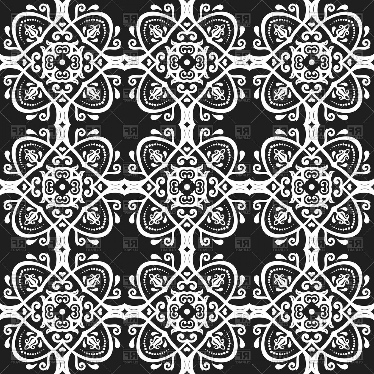 Geometric Vector B2: Seamless Geometric Black And White Pattern Vector Clipart