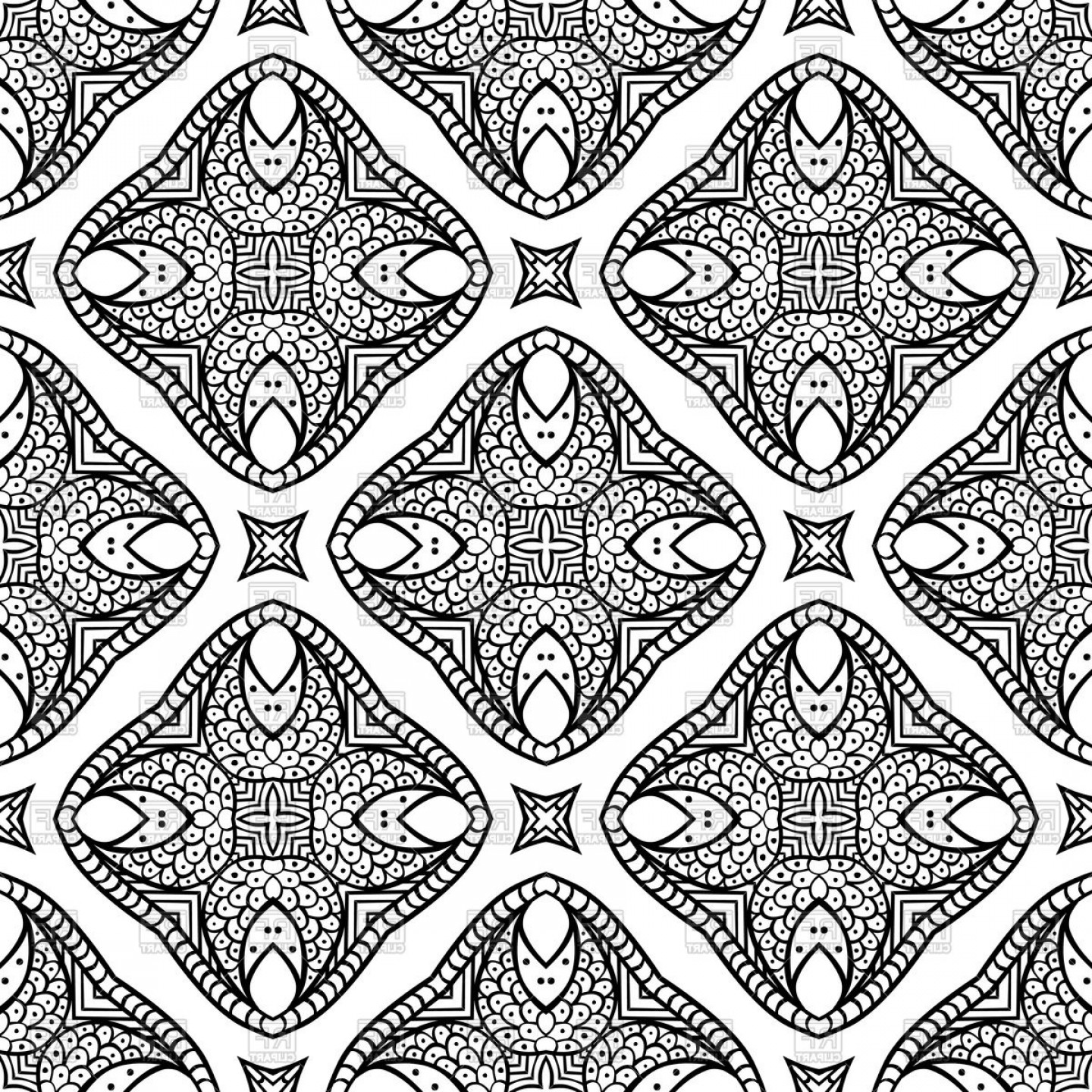 Geometric Vector B2: Seamless Geometric Pattern Made Of Hand Drawn Elements Vector Clipart