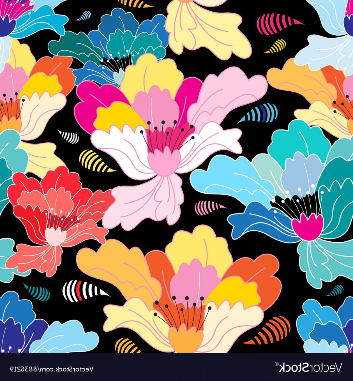 Beautiful Flowers Vector Graphic: Seamless Graphic Pattern With Beautiful Flowers Vector
