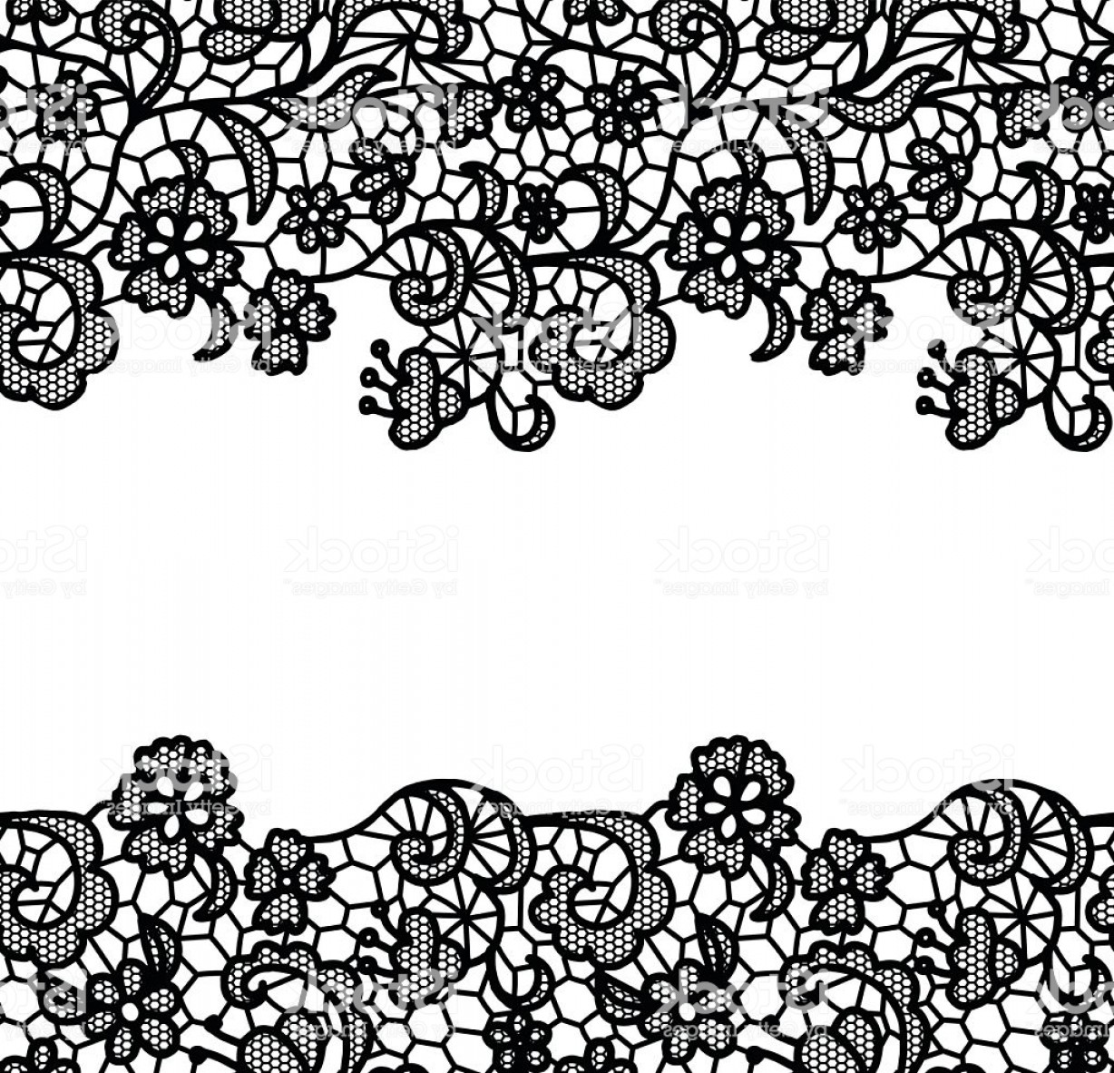Floral Lace Trim Vector: Seamless Lace Border Invitation Card Gm