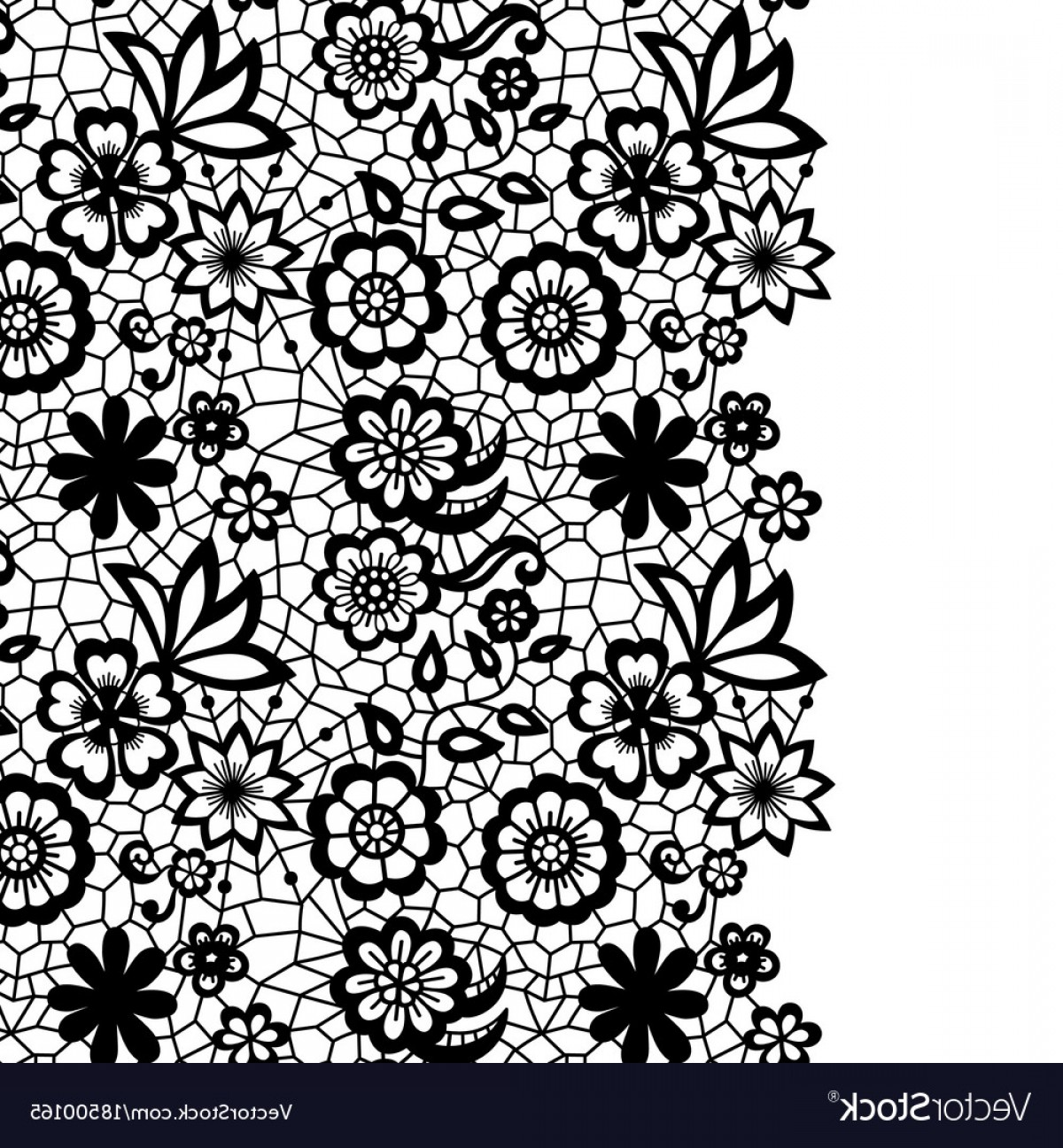Floral Lace Trim Vector: Seamless Lace Border Invitation Card Vector