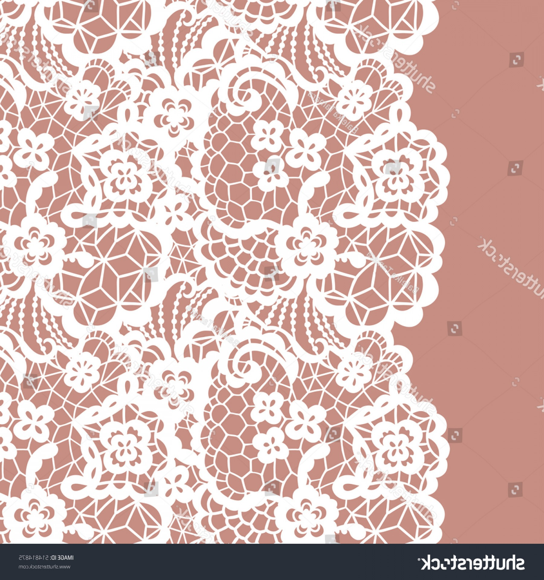 Floral Lace Trim Vector: Seamless Lace Border Vector Illustration White