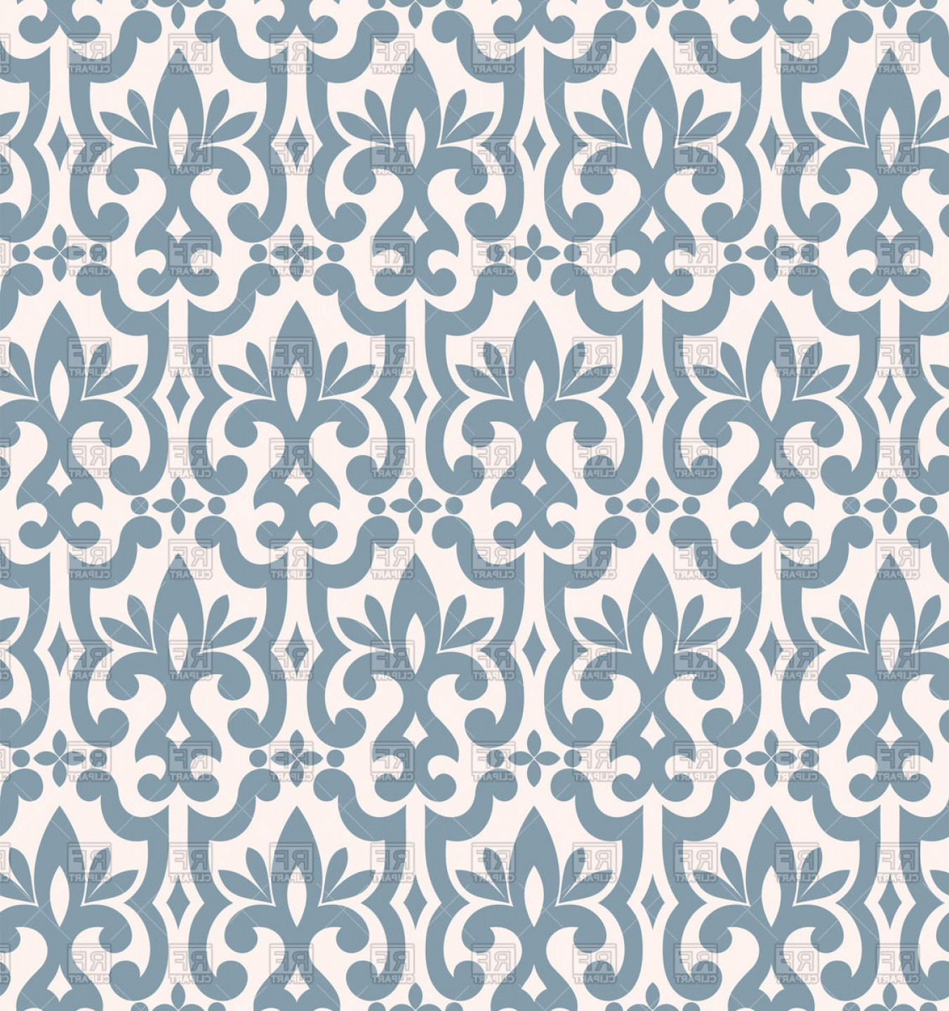 Damask Background Vector Art: Seamless Light Blue Damask Pattern Vector Clipart