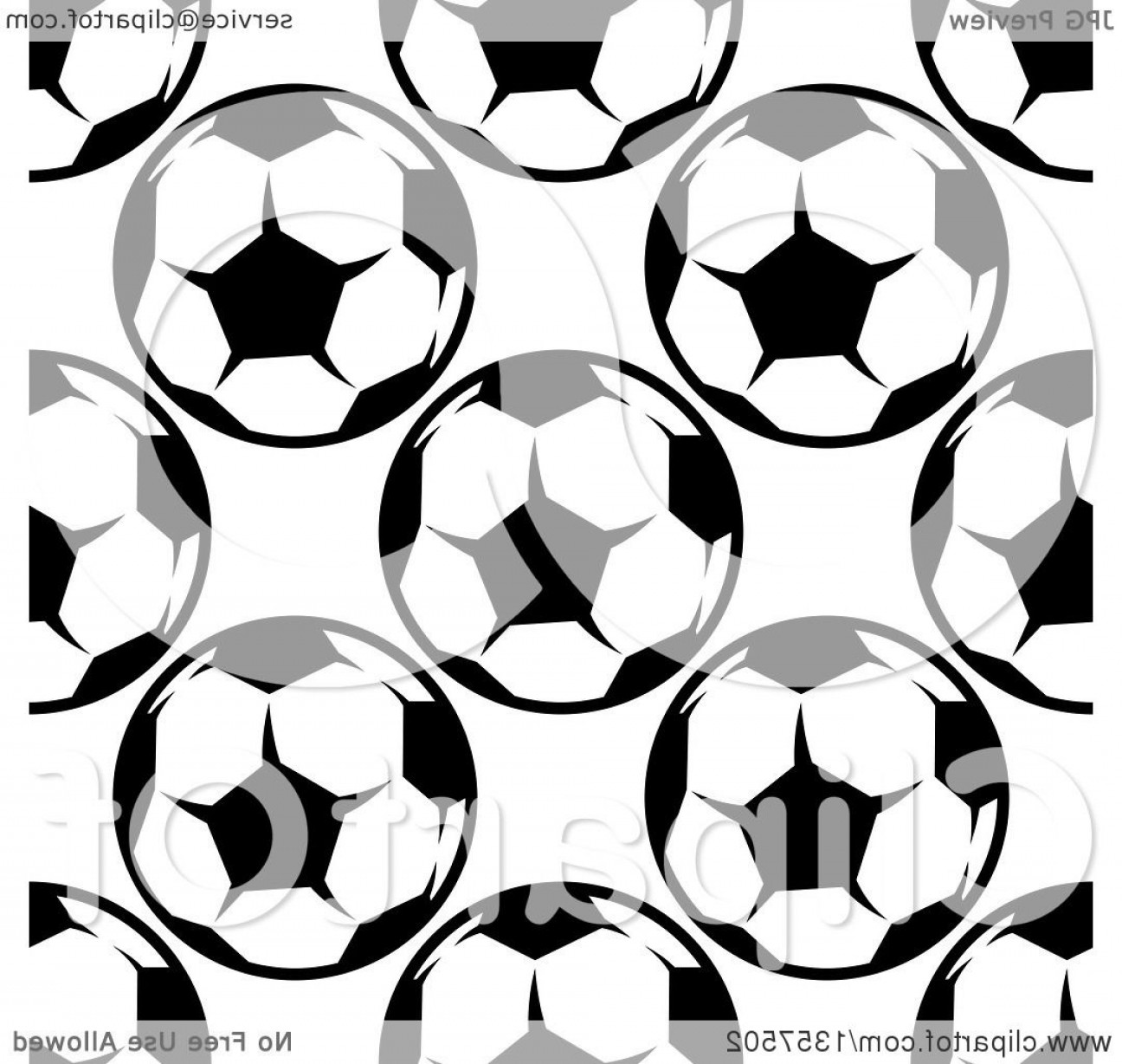 Vector Soccer Ball Pattern: Seamless Pattern Background Of Black And White Soccer Balls