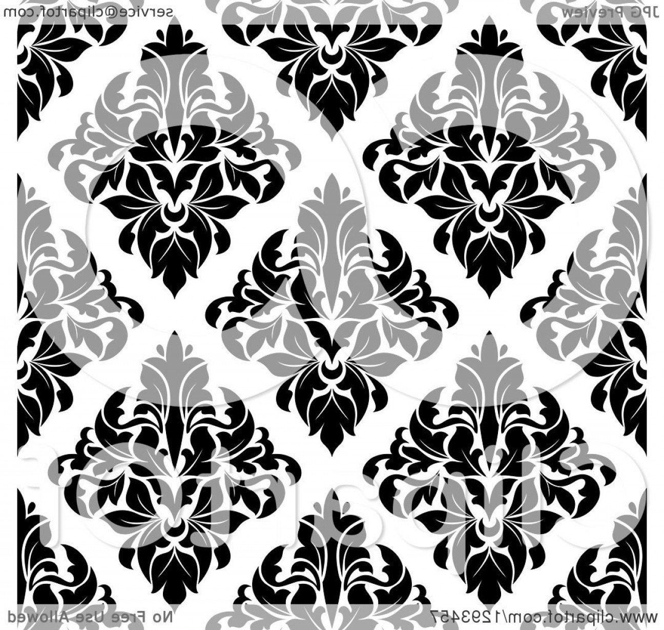 Black Diamond Vector Clip Art: Seamless Pattern Background Of Black Diamond Shaped Damask On White