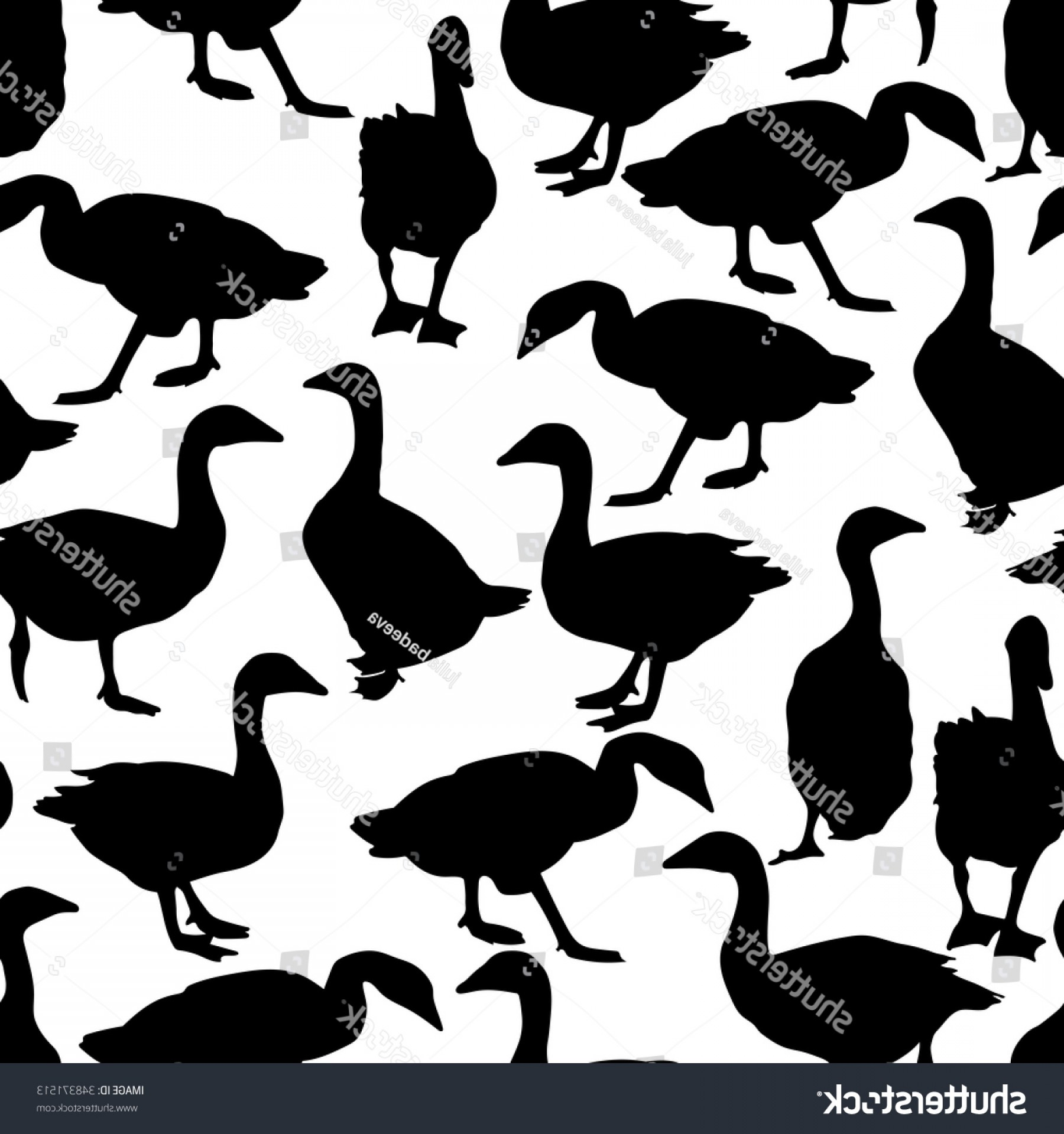 Geese Vector: Seamless Pattern Black Geese Vector Illustration