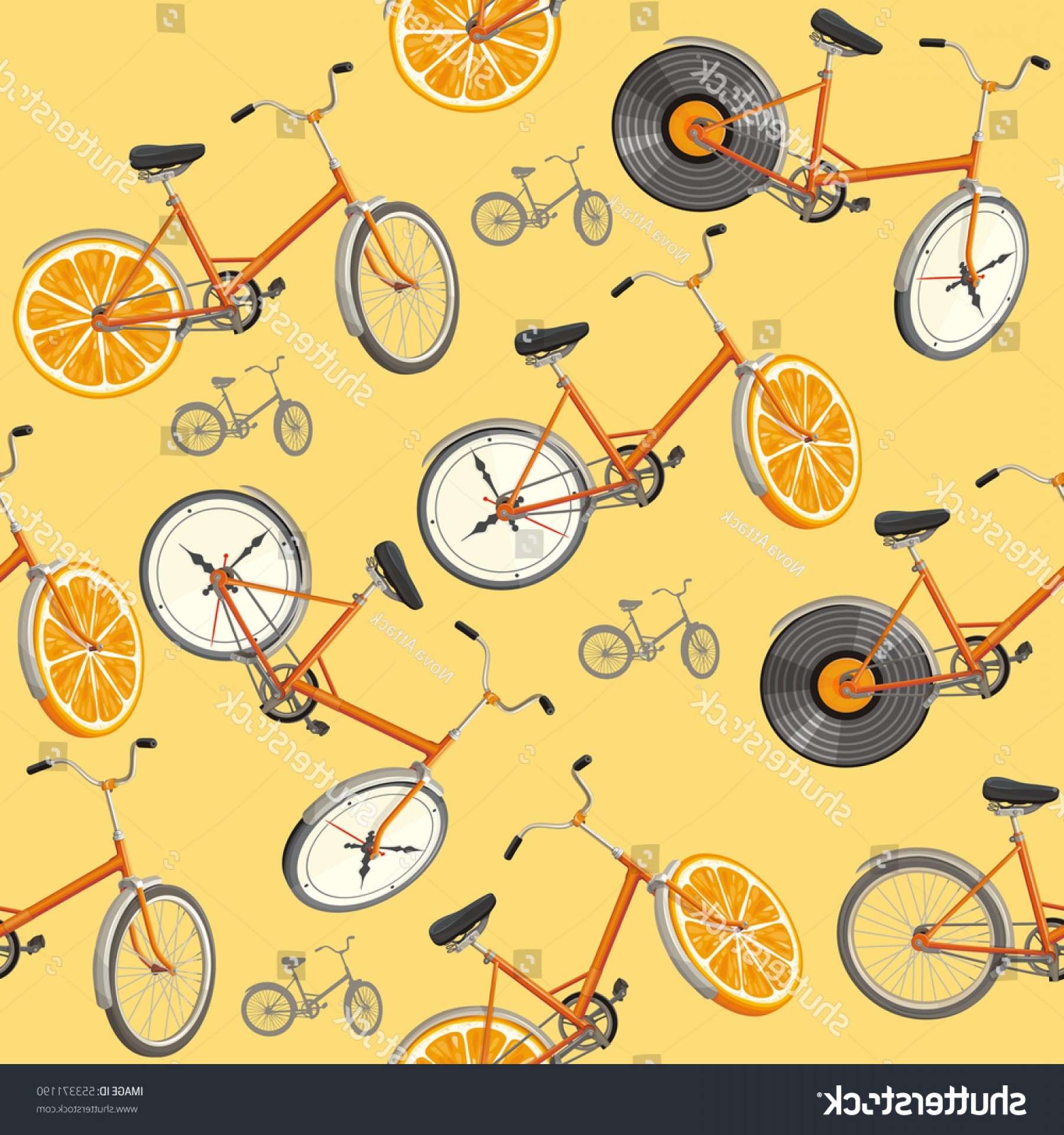 Vector Mechanical Clock Wheels: Seamless Pattern Cute Retro Bikes Oranges