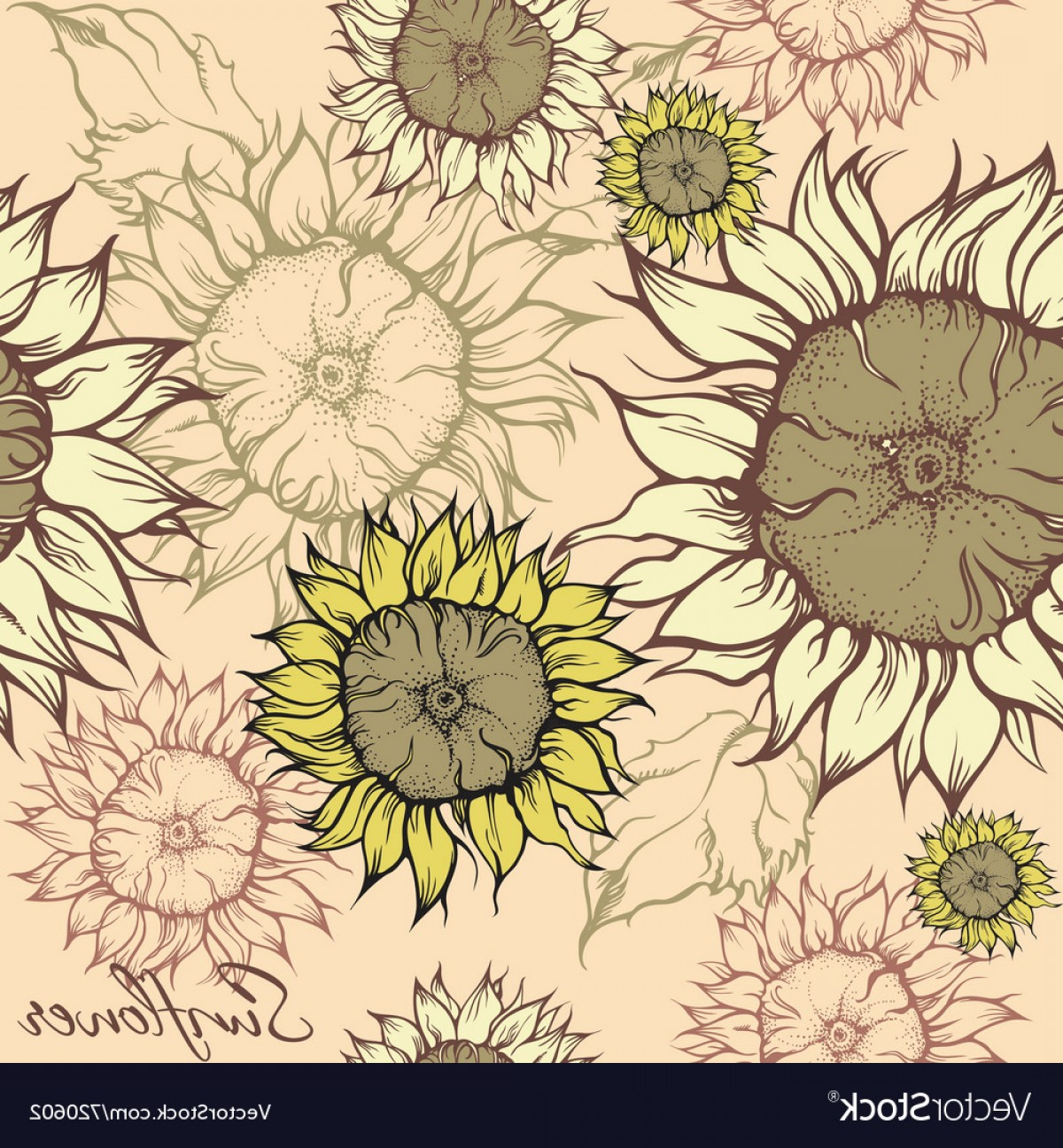 Sunflower Vector Pattern: Seamless Pattern Field Of Sunflowers Vector