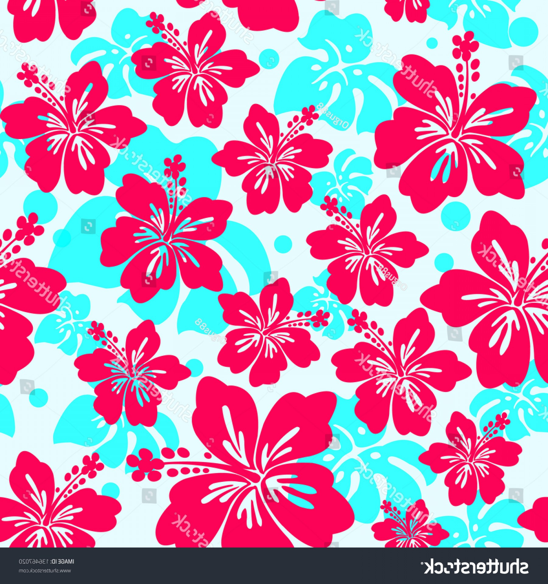 Hawaiian Pattern Vector: Seamless Pattern Hibiscus Flower Background Hawaiian