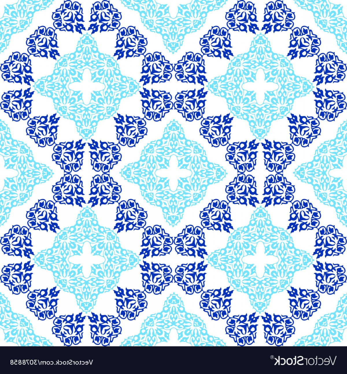 Aqua Victorian Vectors: Seamless Pattern In Victorian Style Vector