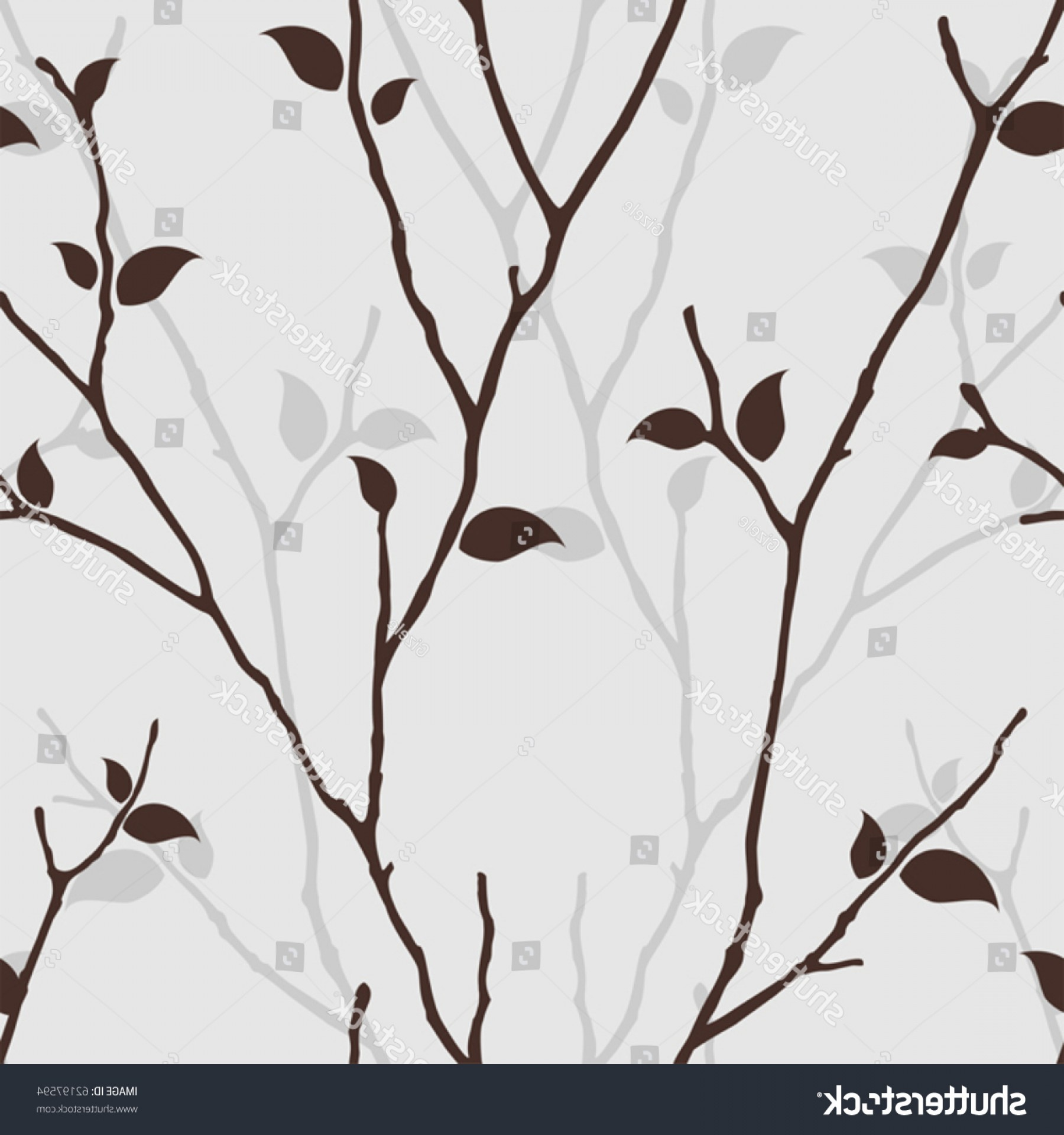 Tree Branch Vector Background: Seamless Pattern Leaves Silhouette Nature Background