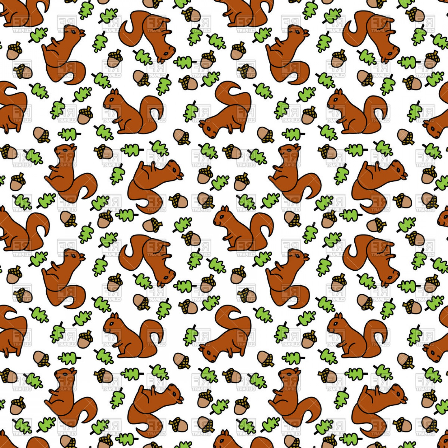 Oak Leaf Vector Clip Art: Seamless Pattern Made Of Illustrated Squirrels And Oak Leaves And Acorns Vector Clipart