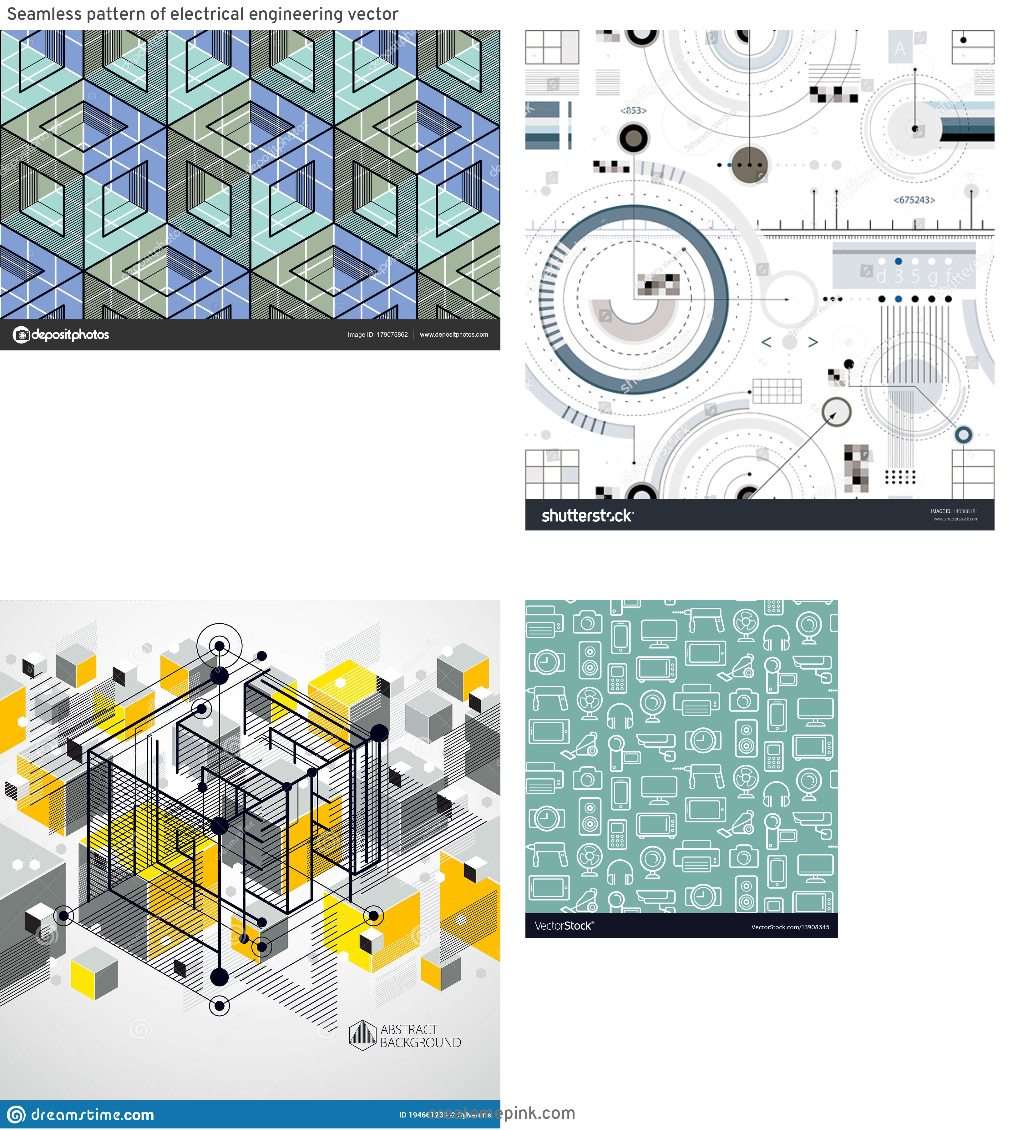 Engineering Vector Pattern: Seamless Pattern Of Electrical Engineering Vector