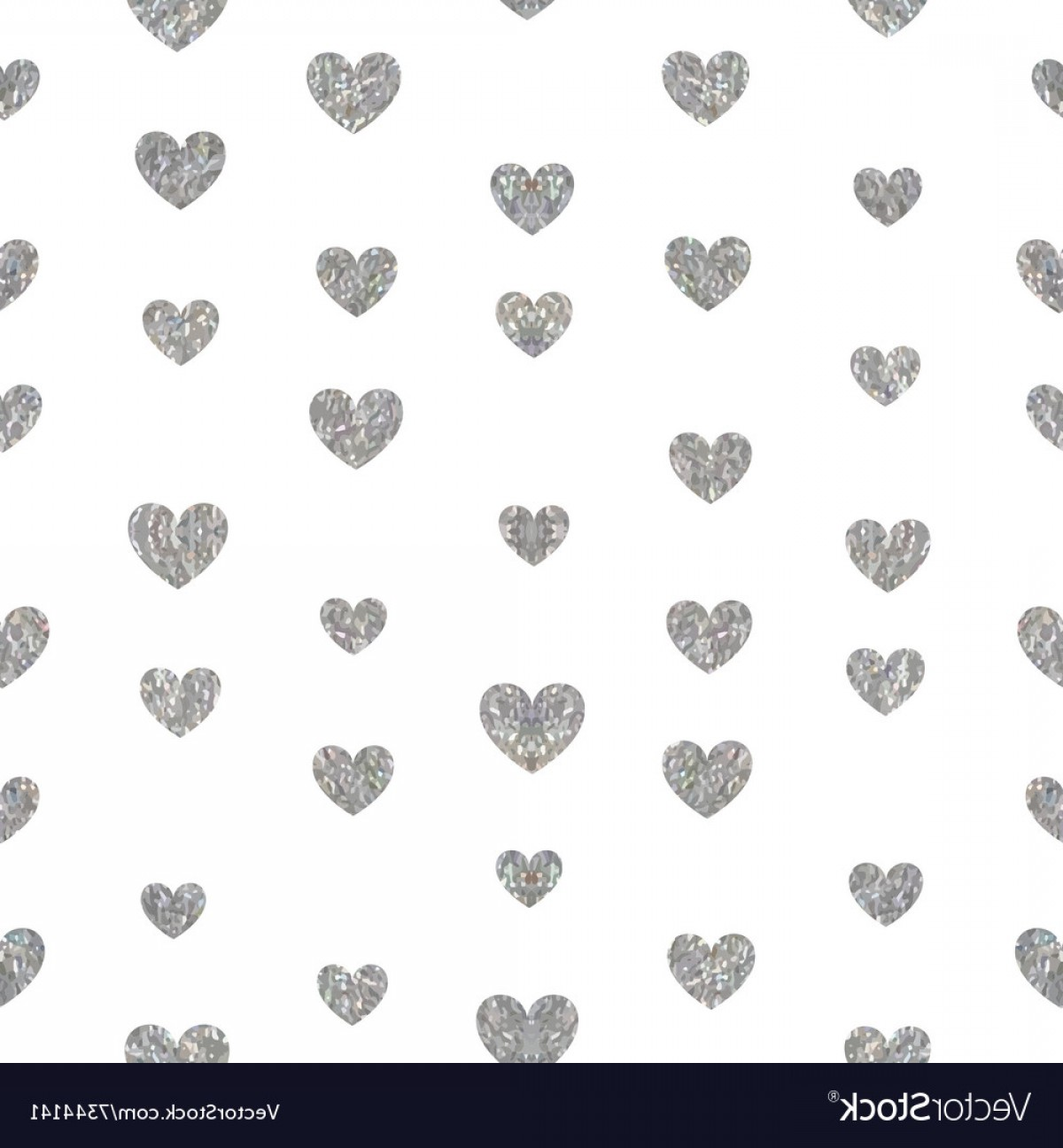 Silver Heart Vector: Seamless Pattern Of Silver Hearts Vector