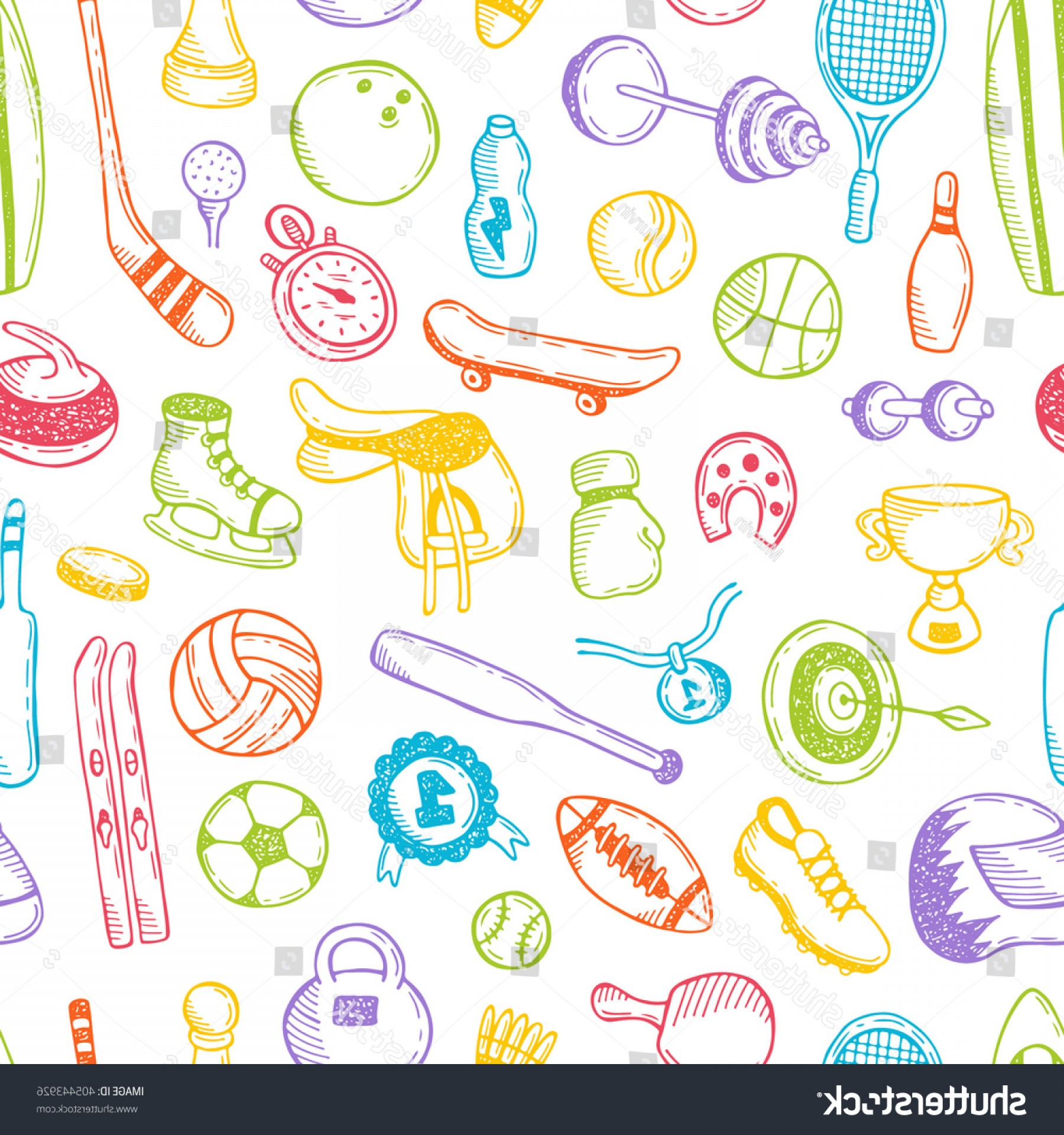 Hockey Vector Patterns: Seamless Pattern Sport Objects Hand Drawn