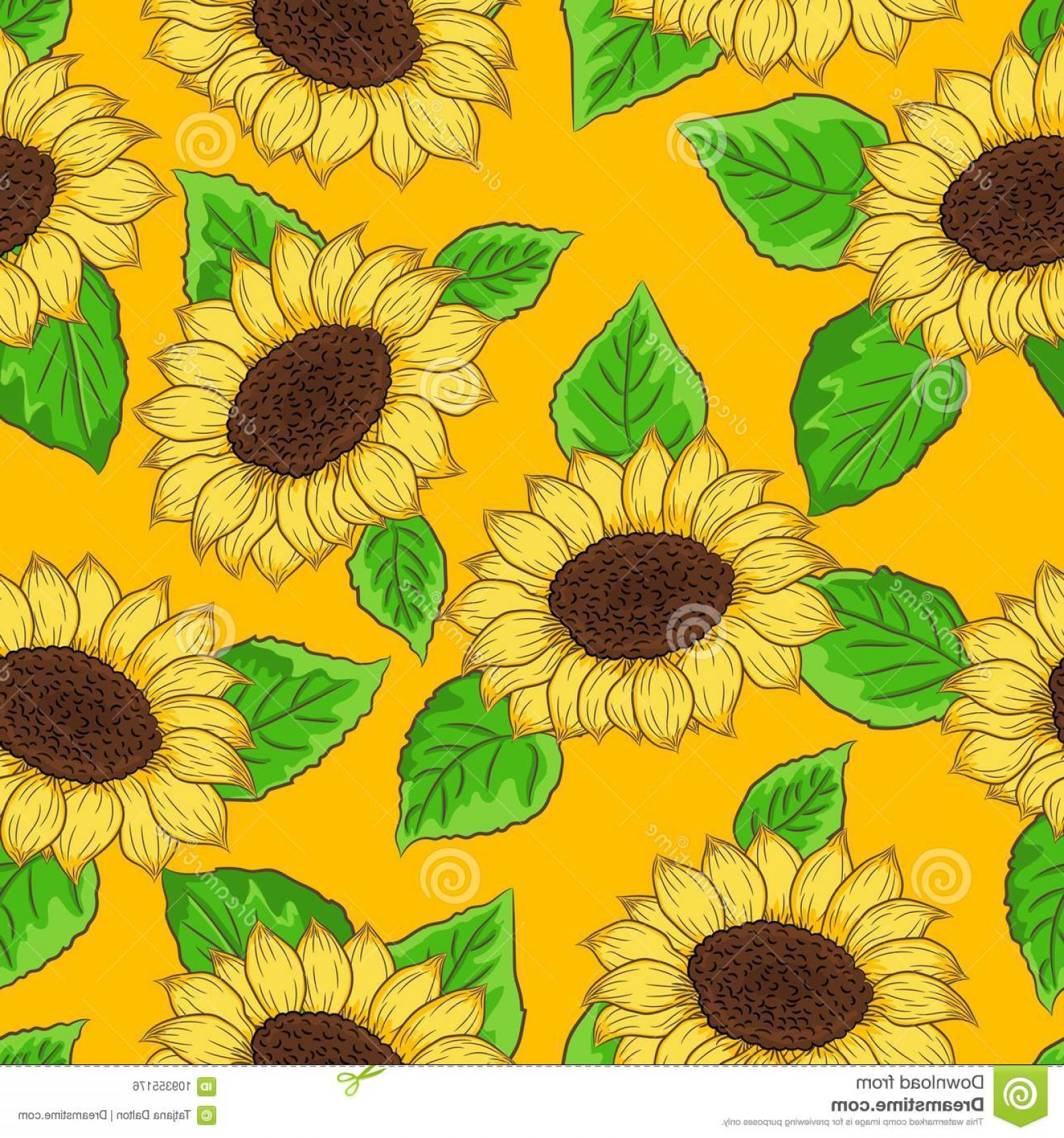 Sunflower Vector Pattern: Seamless Pattern Sunflower Vector Green Leaves Yellow Sun Background Image