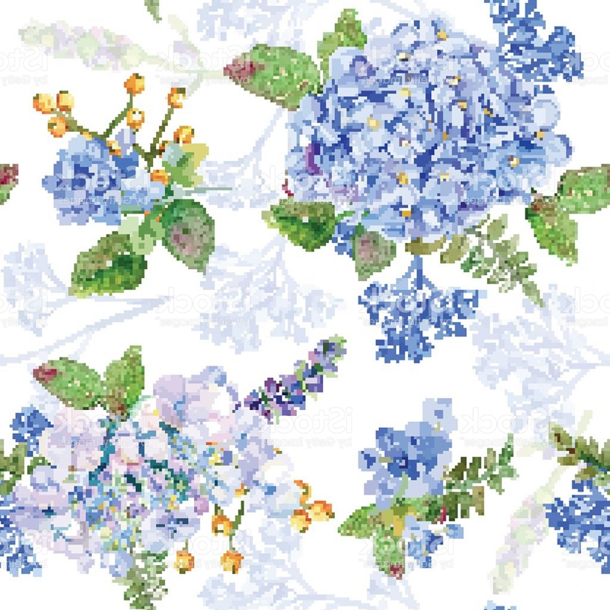 Hydrangea Vector Graphics: Seamless Pattern Vector Watercolor Blue Hydrangea Lavender Gm