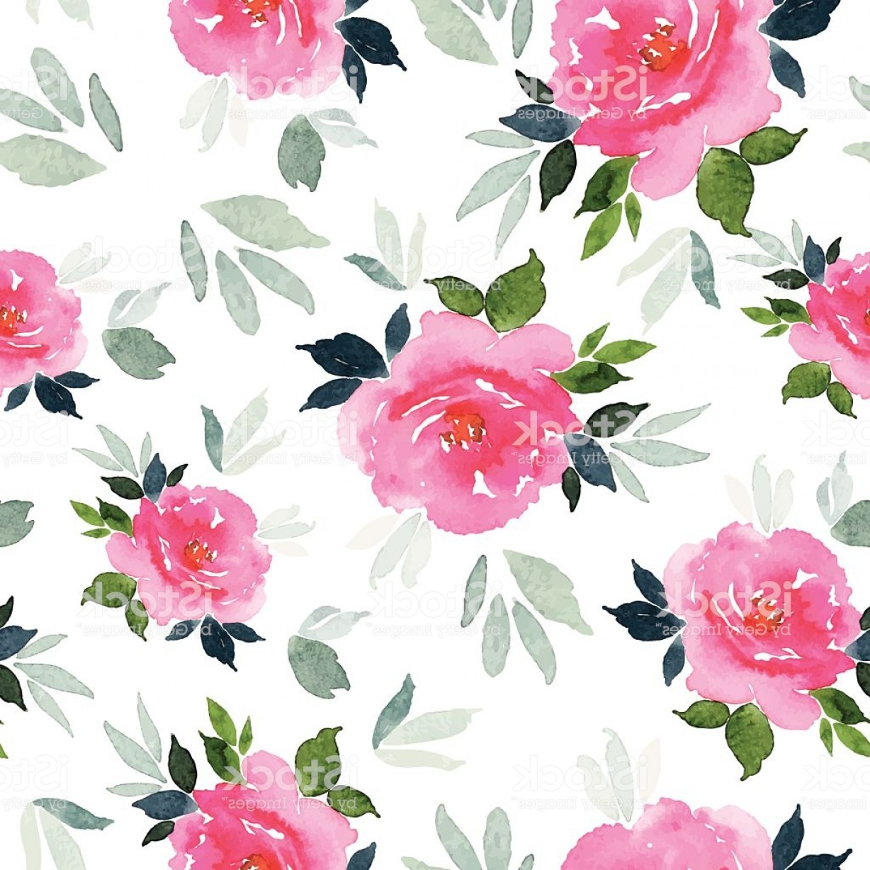 Watercolor Floral Background Vector: Seamless Pattern Watercolor Flowers Gm