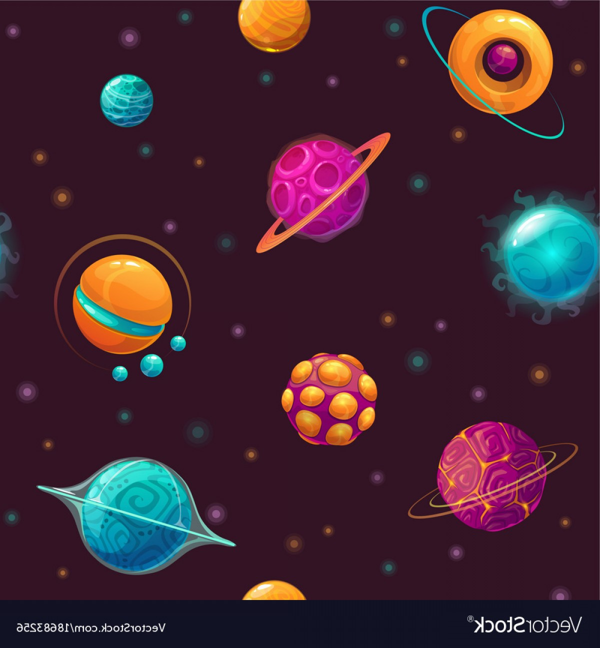 Planets Vector Graphics: Seamless Pattern With Cartoon Fantasy Planets Vector