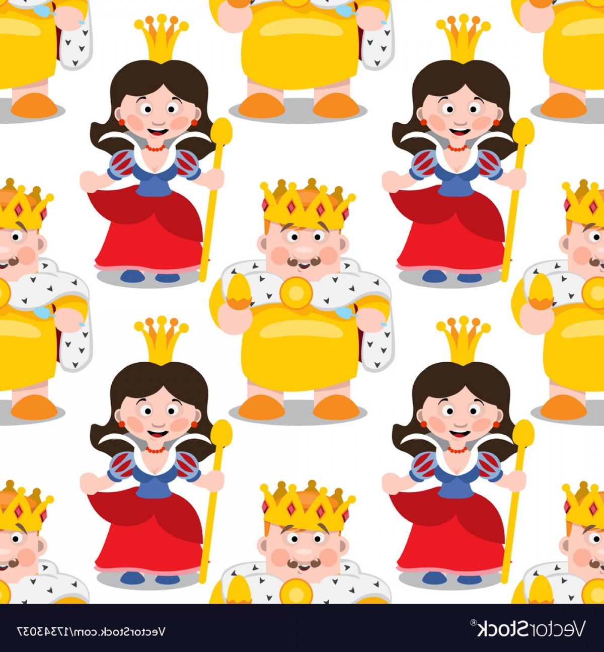King And Queen Vector: Seamless Pattern With Cartoon King And Queen Vector