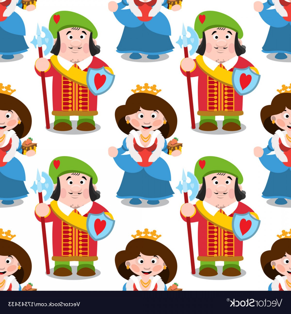 Silver Prince Vector: Seamless Pattern With Cartoon Queen And Prince Vector