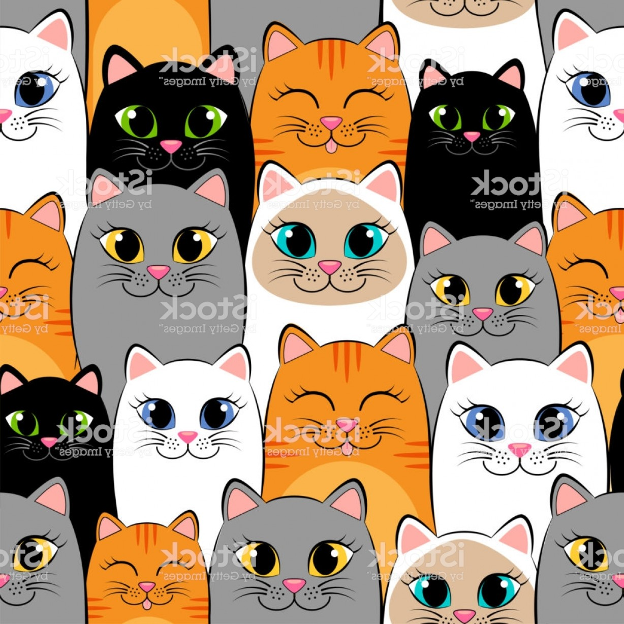 Siamese Cat Vector Transparent Background: Seamless Pattern With Cats Background With Gray White Black Ginger And Siamese Gm