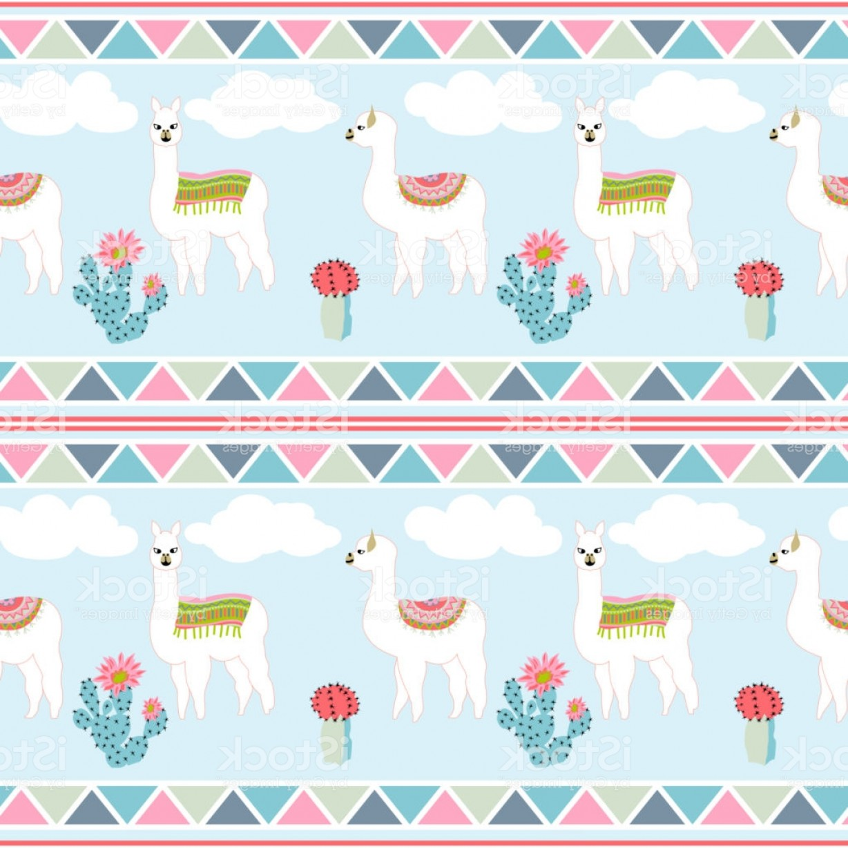 Aztec Cactus Vector: Seamless Pattern With Cute Llama Castus And Flower Llama Cactus Flower Pattern With Gm