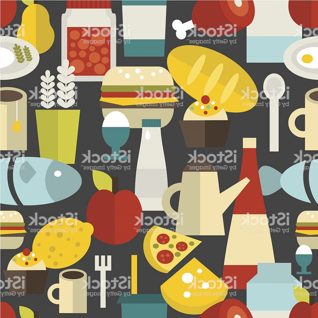 Food Vectors 50 S: Seamless Pattern With Different Food And Drinks Gm
