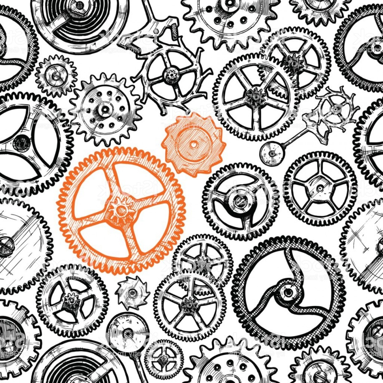 Watch Gears Vector: Seamless Pattern With Different Gears Gm