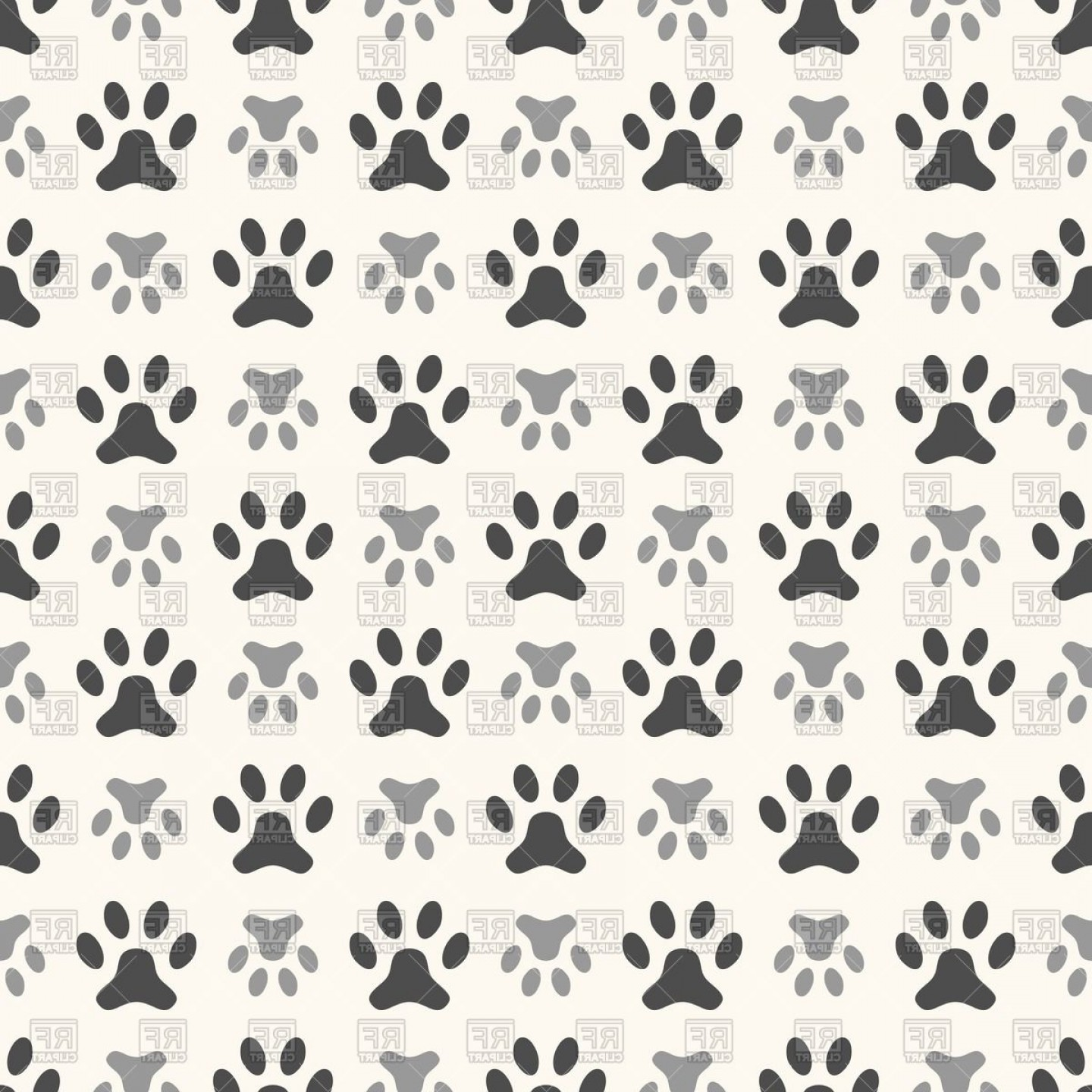 Bone Shaped Dog Tags Vector Art: Seamless Pattern With Dog Paw Print Vector Clipart