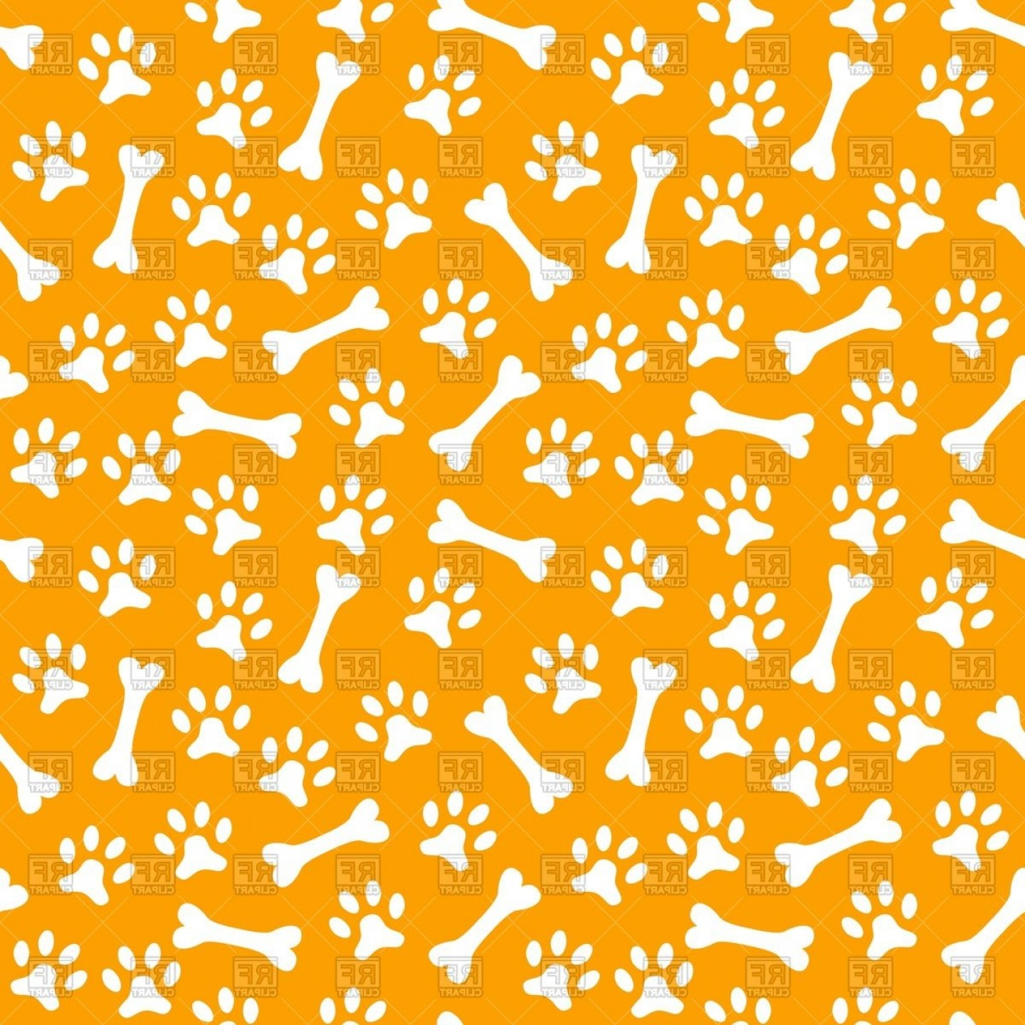 Bone Shaped Dog Tags Vector Art: Seamless Pattern With Dogs Paw Print And Bone Vector Clipart