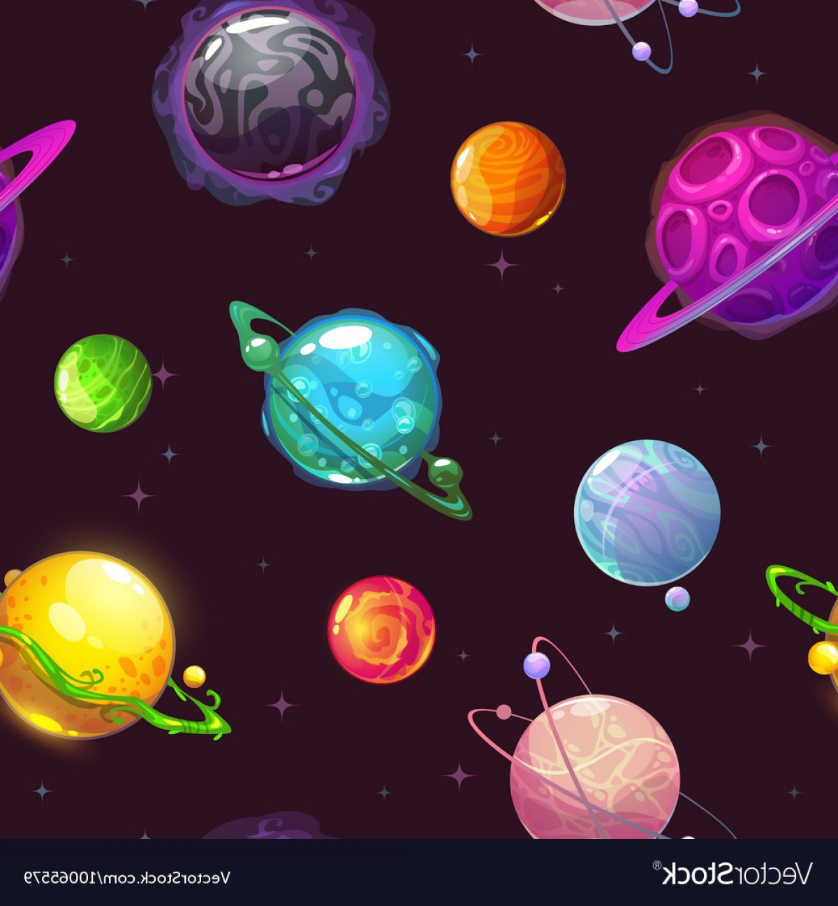 Planets Vector Graphics: Seamless Pattern With Fantasy Cartoon Planets Vector