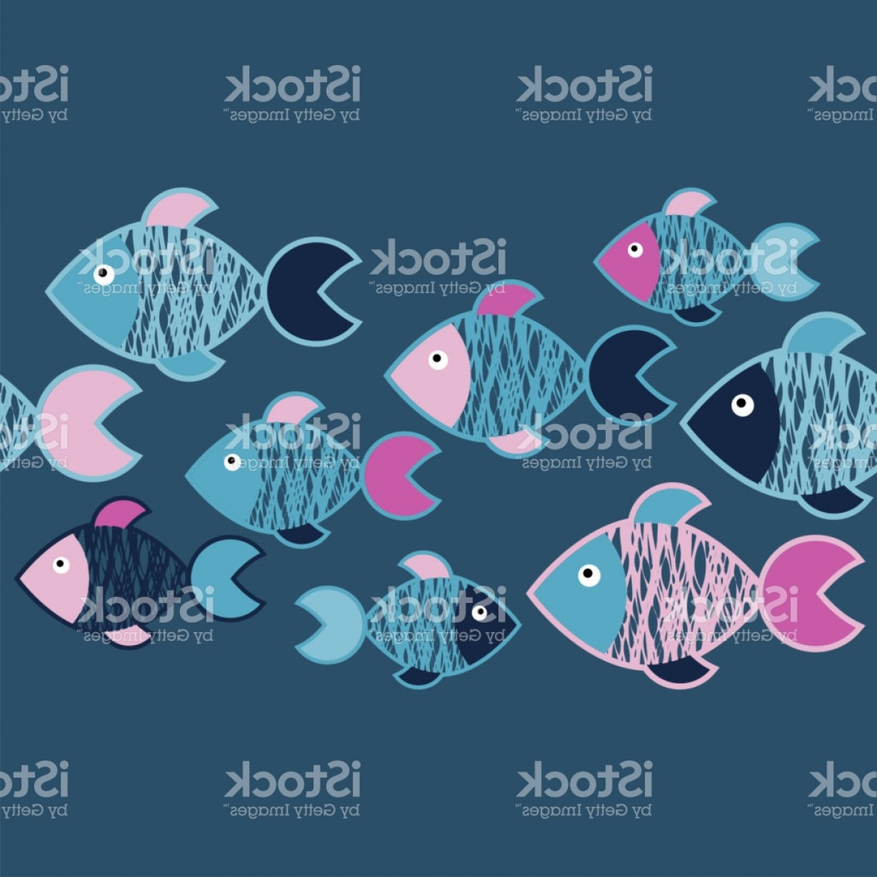 Rapport Vector: Seamless Pattern With Fishes In The Sea Cute Cartoon Textile Rapport Gm