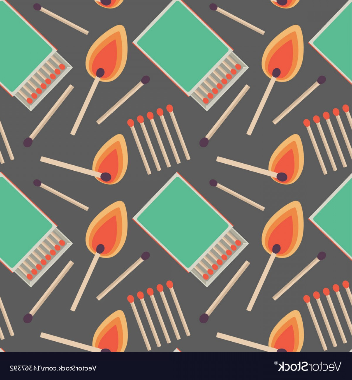 Vector Flame Stick Pattern: Seamless Pattern With Flat Matches Vector