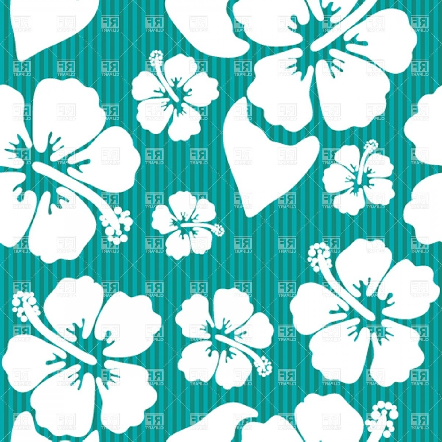Hawaiian Pattern Vector: Seamless Pattern With Hawaiian Hibiscus Flower Vector Clipart