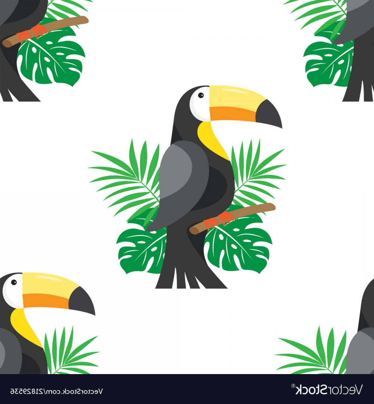 Toucan Vector: Seamless Pattern With Leafs And Toucan Vector