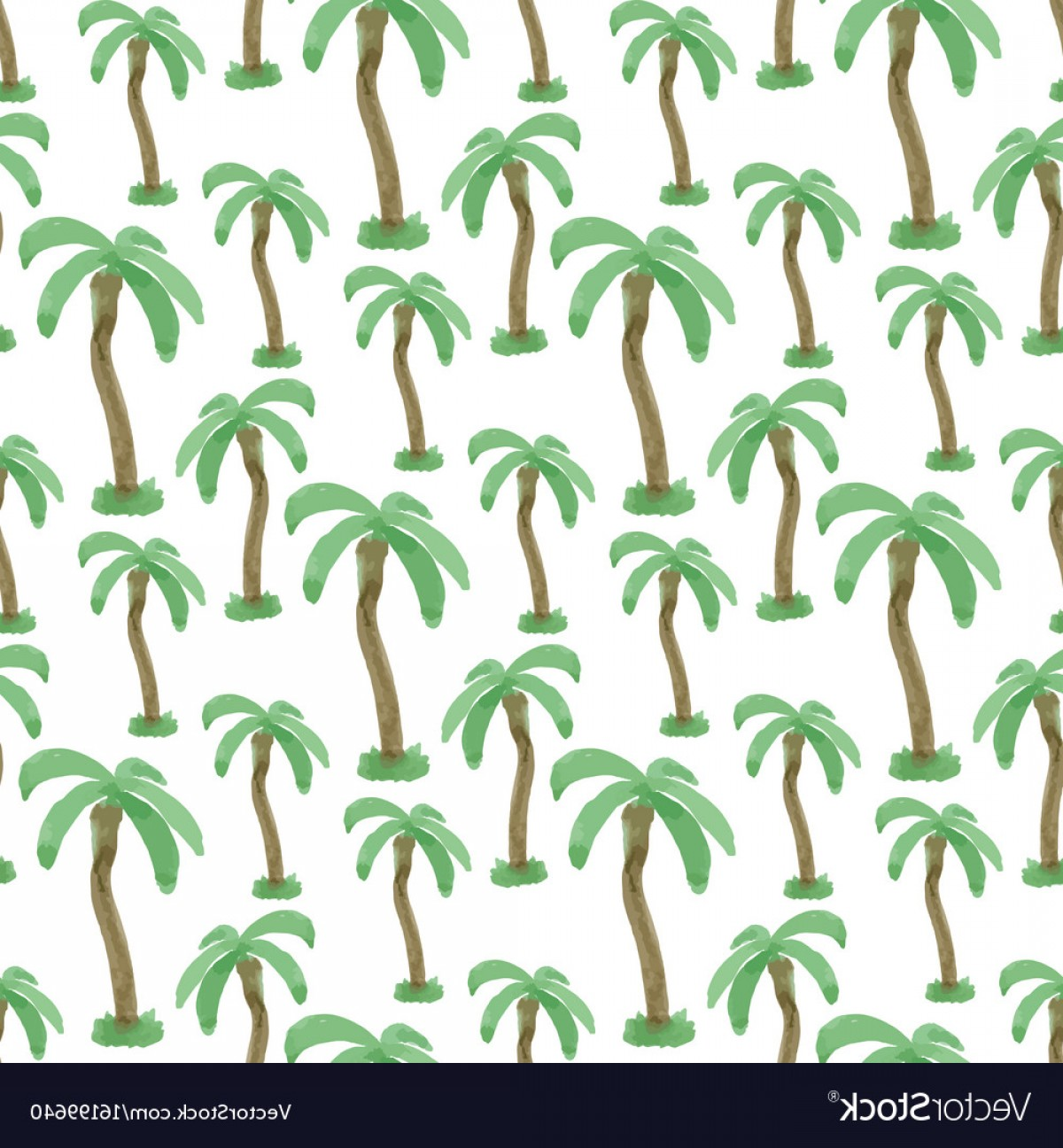 Watercolor Palm Tree Vector: Seamless Pattern With Watercolor Palm Trees Vector