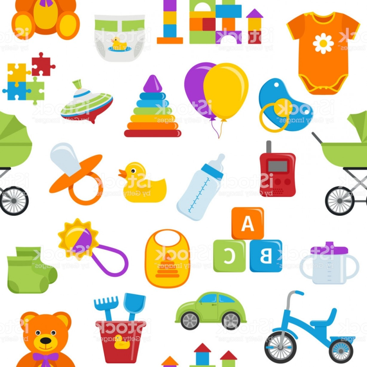 Baby Toy Vector: Seamless Patterns With Baby Toys Vector Illustration Gm