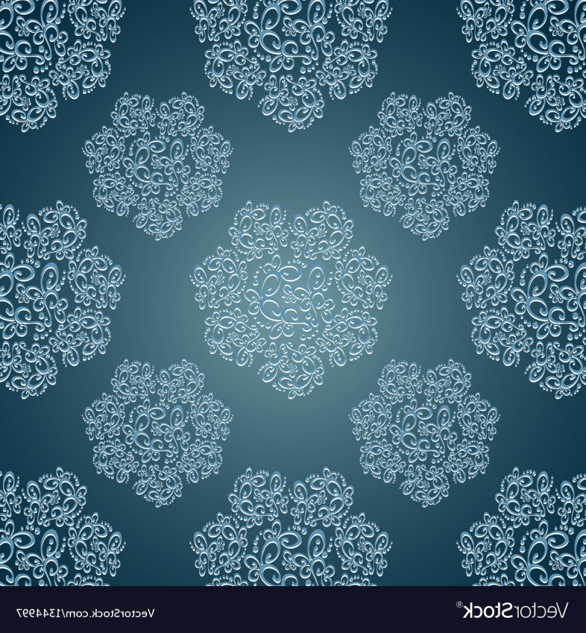 Aqua Victorian Vectors: Seamless Patterns With Lace Flowers In Victorian Vector